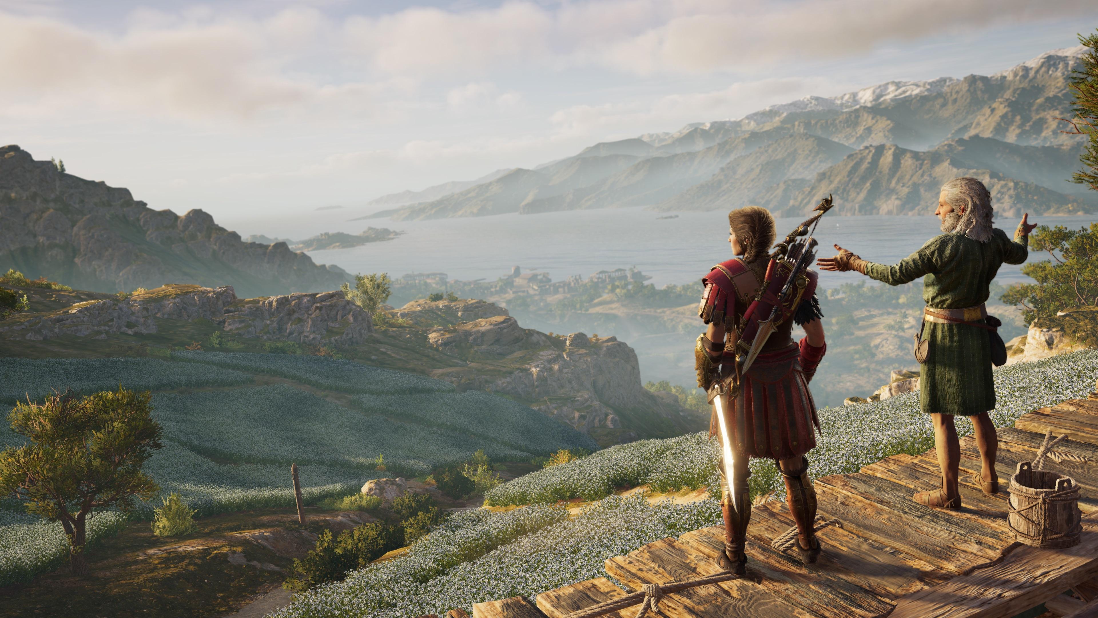 Assassin's Creed Odyssey - Kassandra surveys a Greek vista
