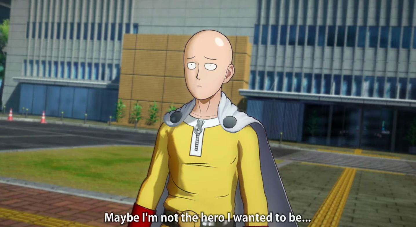 A screenshot of Saitama looking blankly into the distance. He's just a shiny headed bald dummy.