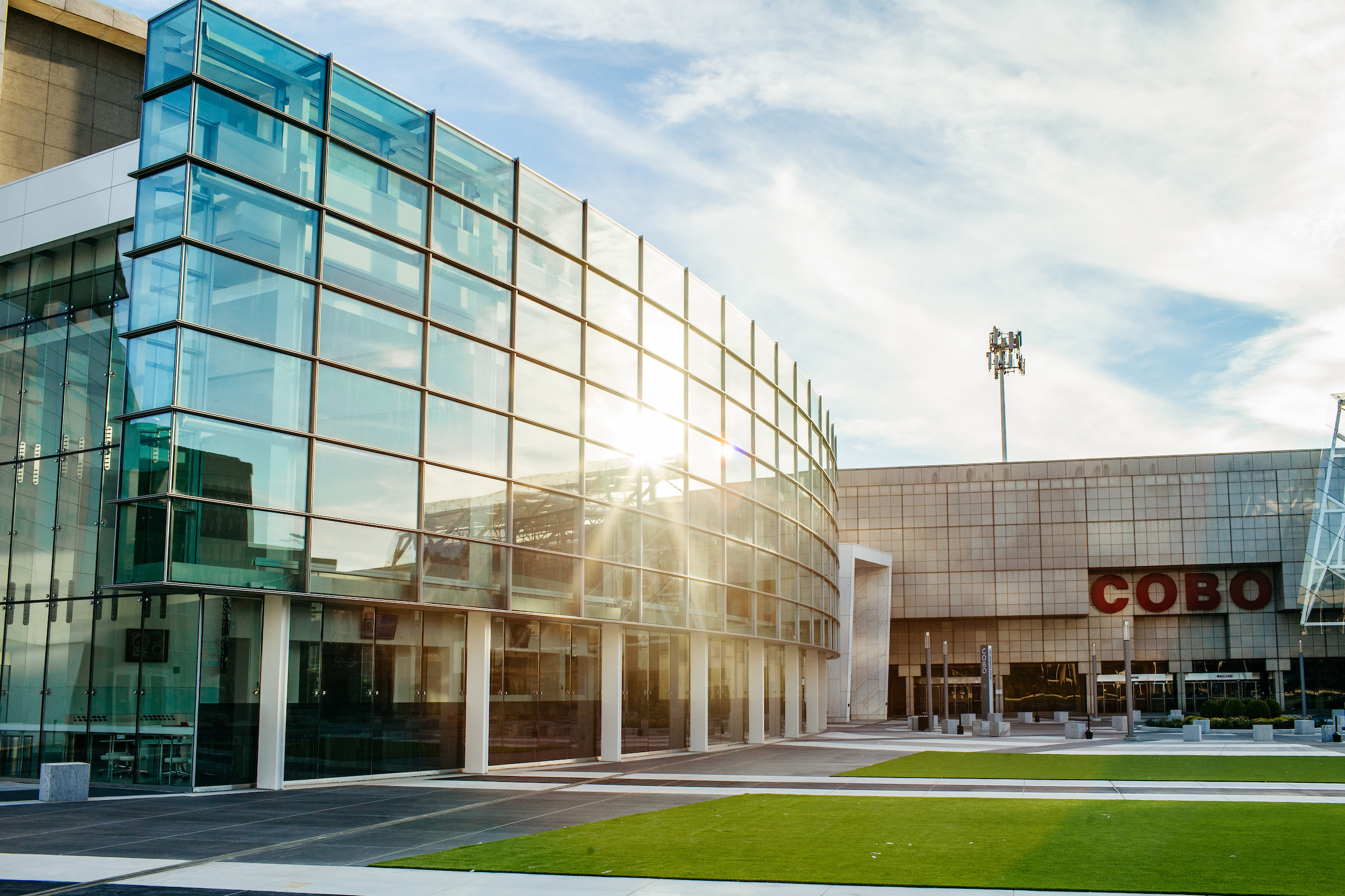 The glass and steel block exterior of the Cobo Center