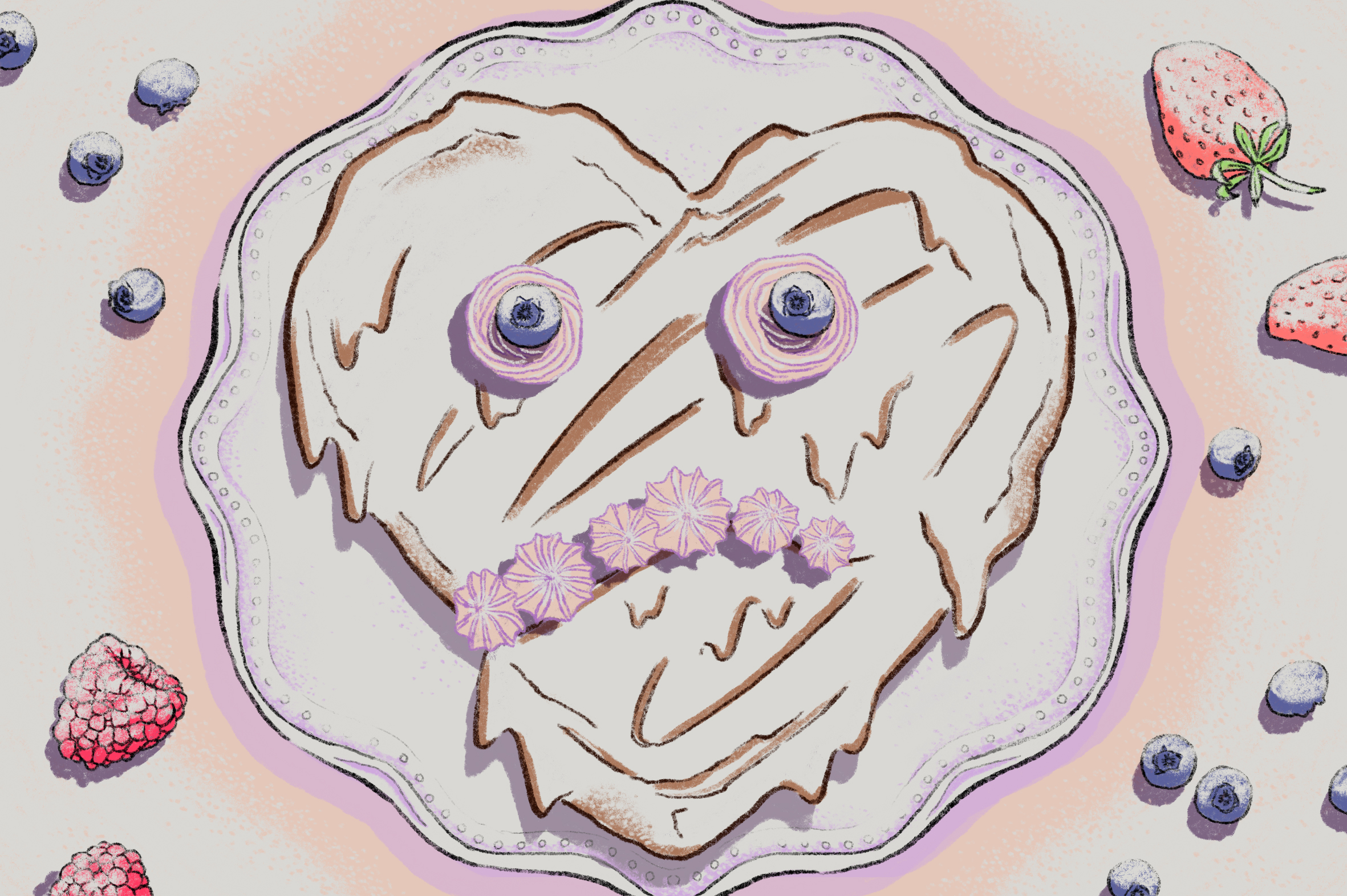 Illustration of heart-shaped chocolate cake with distressed face