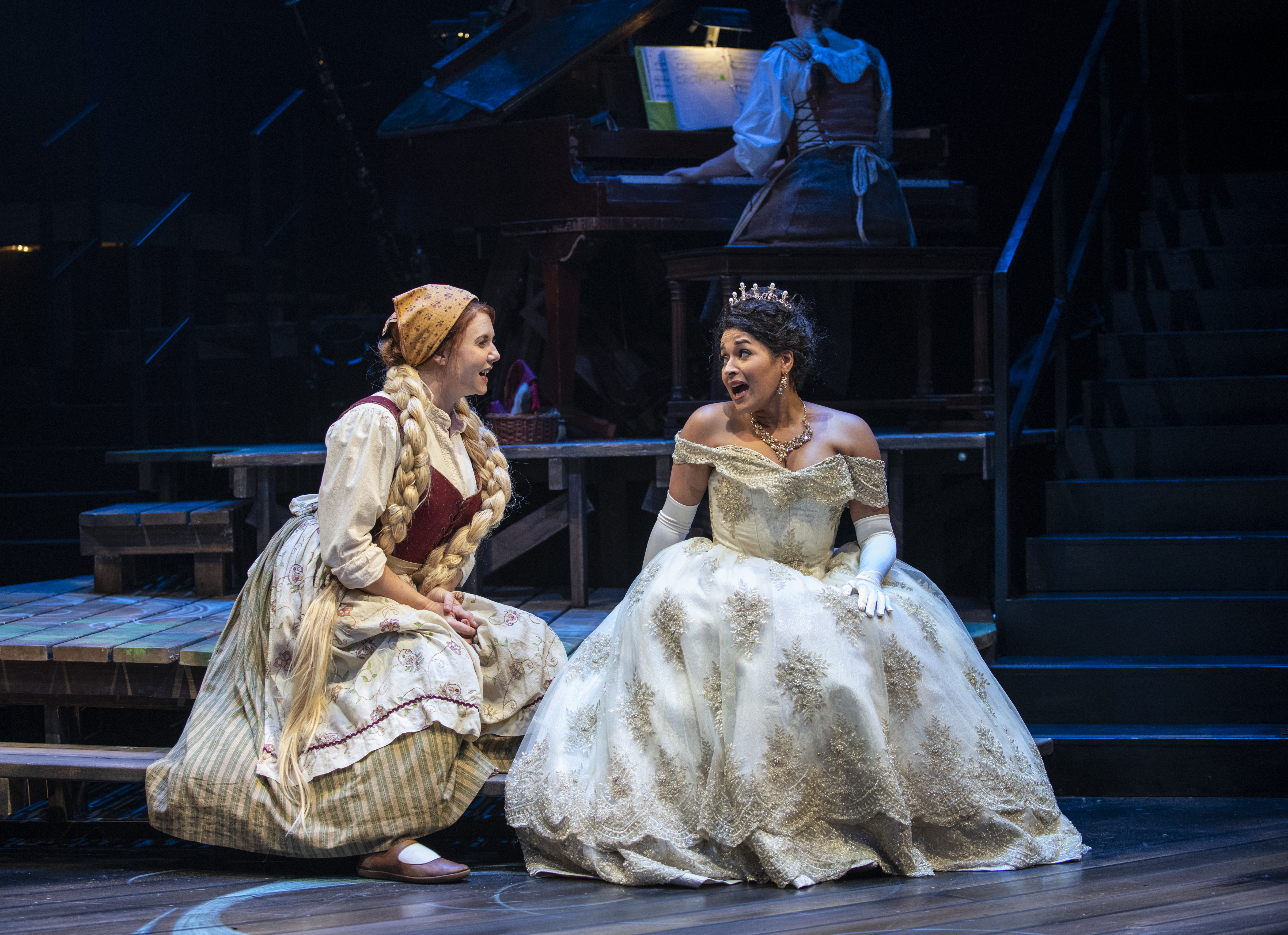 """Brianna Borger (left) stars as the Baker's Wife and Ximone Rose stars as Cinderella in the Writers Theatre production of """"Into the Woods."""""""