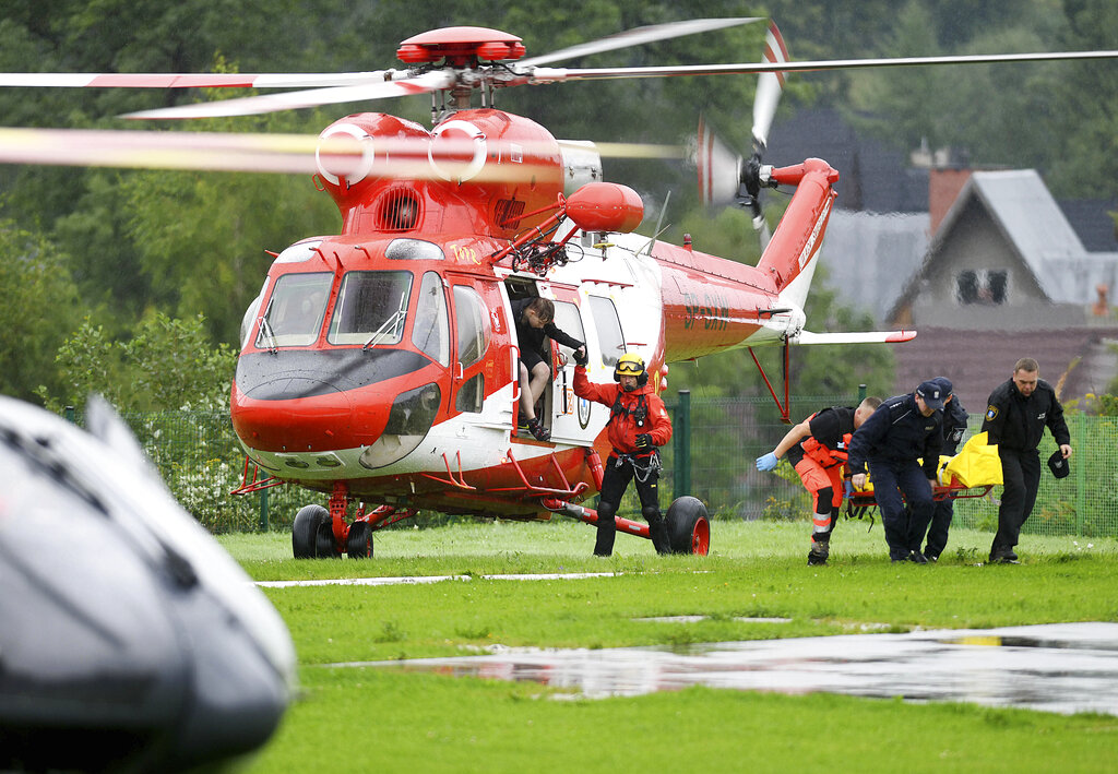 Rescue helicopter rescuing people in Poland's southern Tatra Mountains