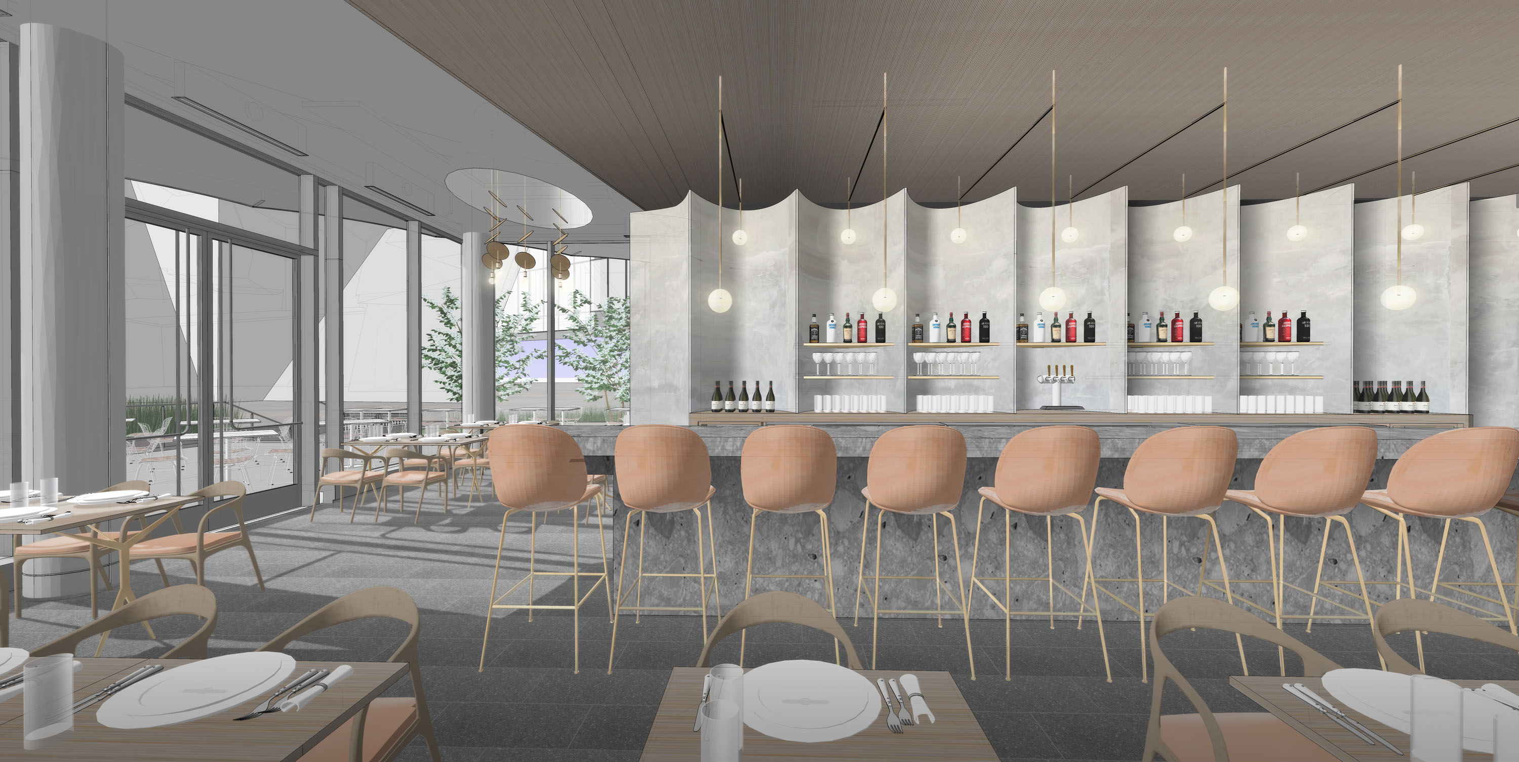 A rendering of the planned interior for The Ponti at the Denver Art Museum