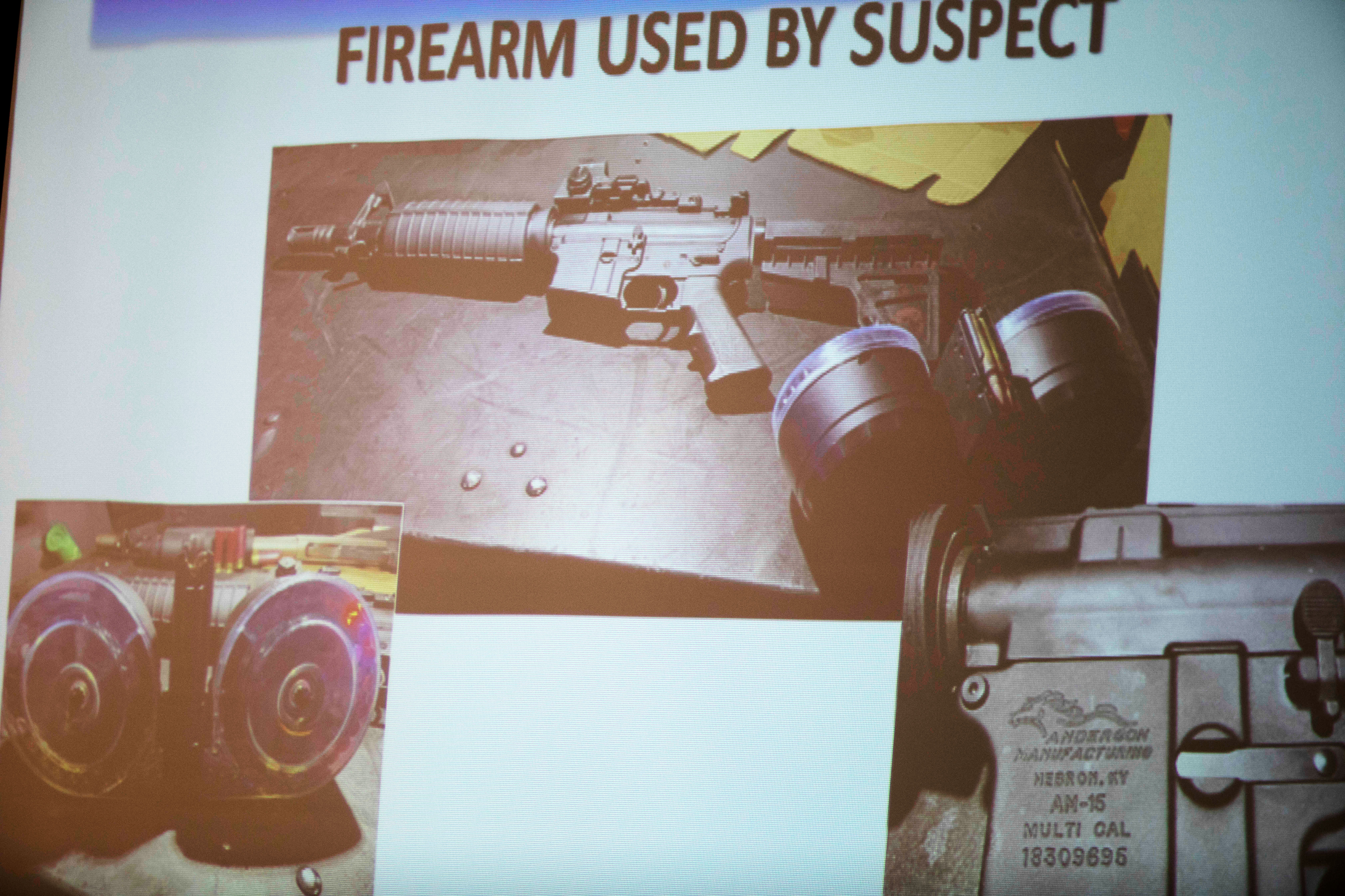 The firearm used by the shooter Connor Betts, 22, is projected on a screen during a news conference Sunday, Aug. 4, 2019, about a fatal mass shooting along the 400 block of E. Fifth Street, in Dayton, Ohio.