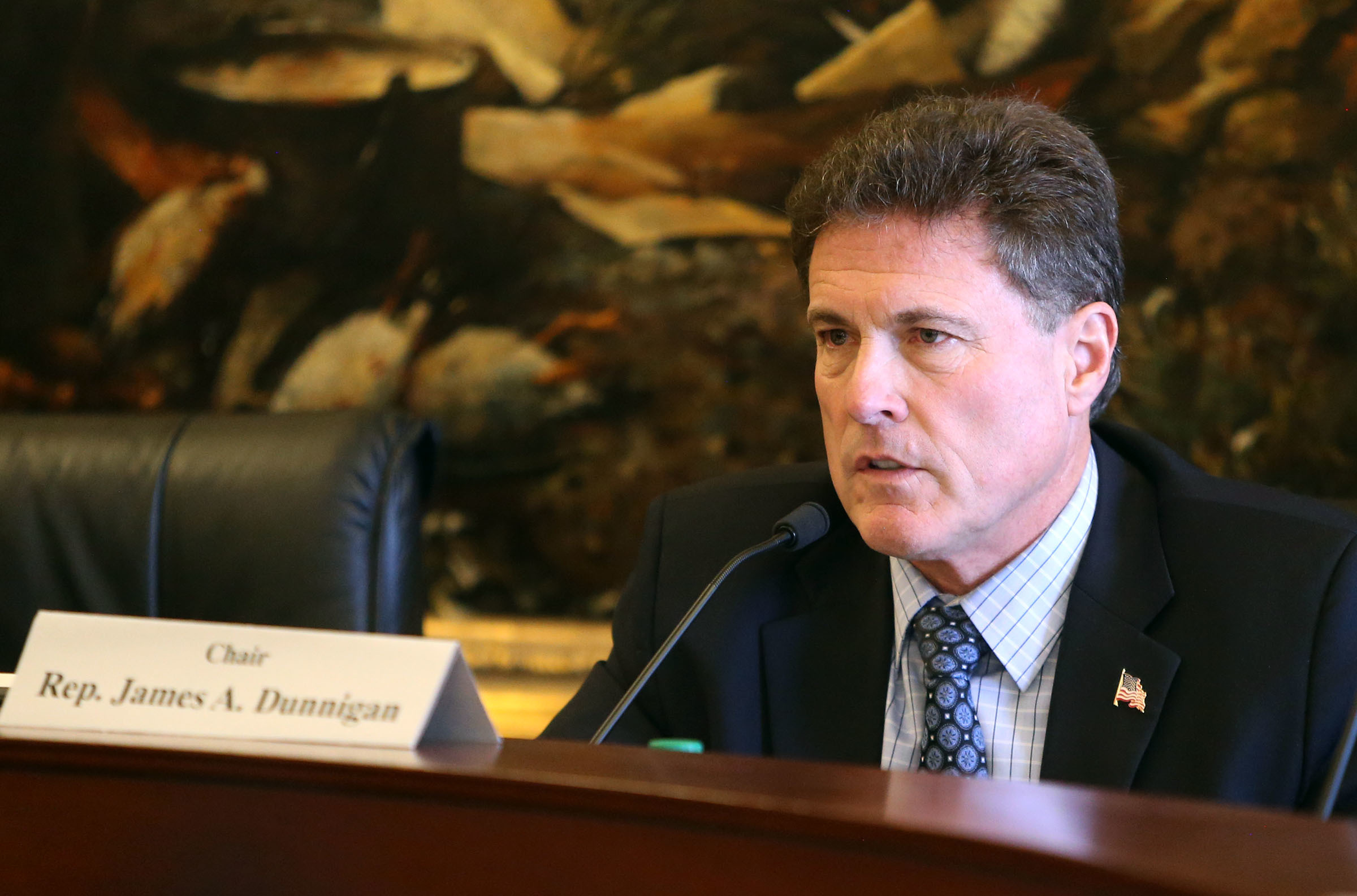 FILE - Rep. Jim Dunnigan, R-Taylorsville speaks at the Capitol in Salt Lake City on Thursday, Feb. 22, 2018.