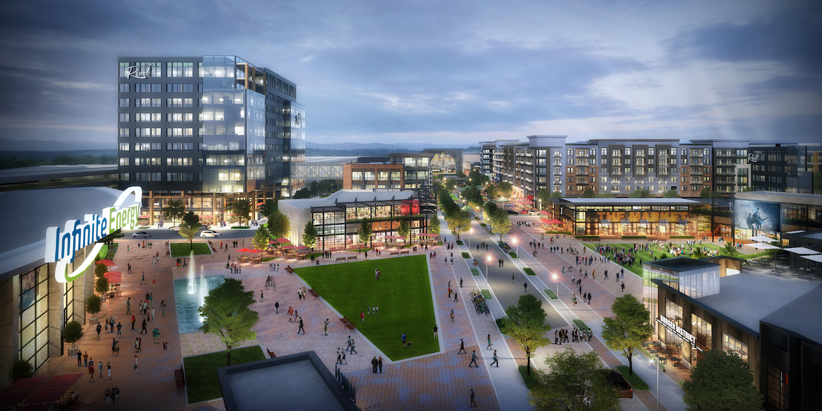 Rendering of multi-story office building, retail shops, and green space.