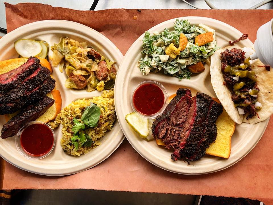 Tri-split places full of barbecue ribs, bread, salads, tacos, and sauces