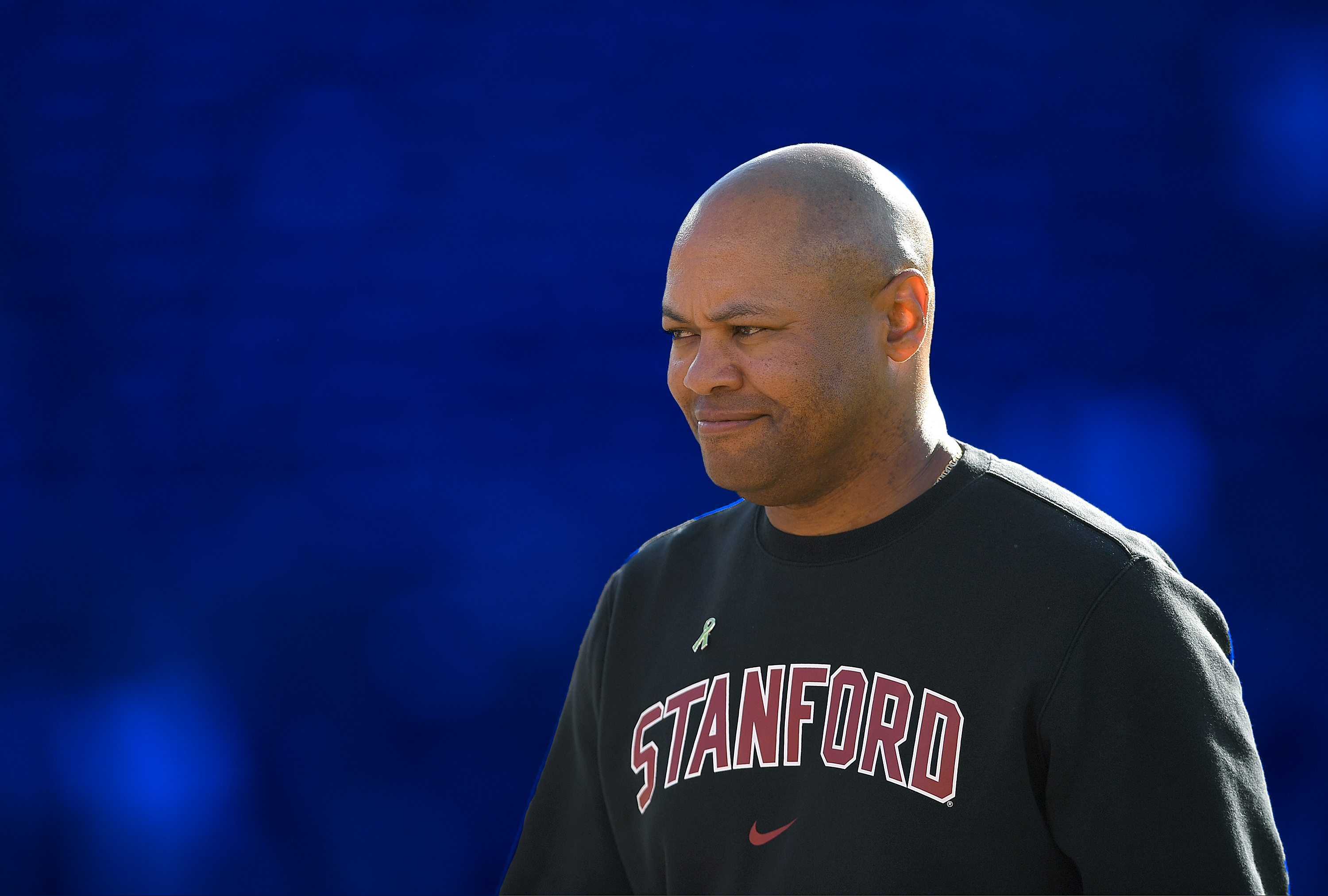Stanford football coach David Shaw walks on the field before a game against USC in 2018.