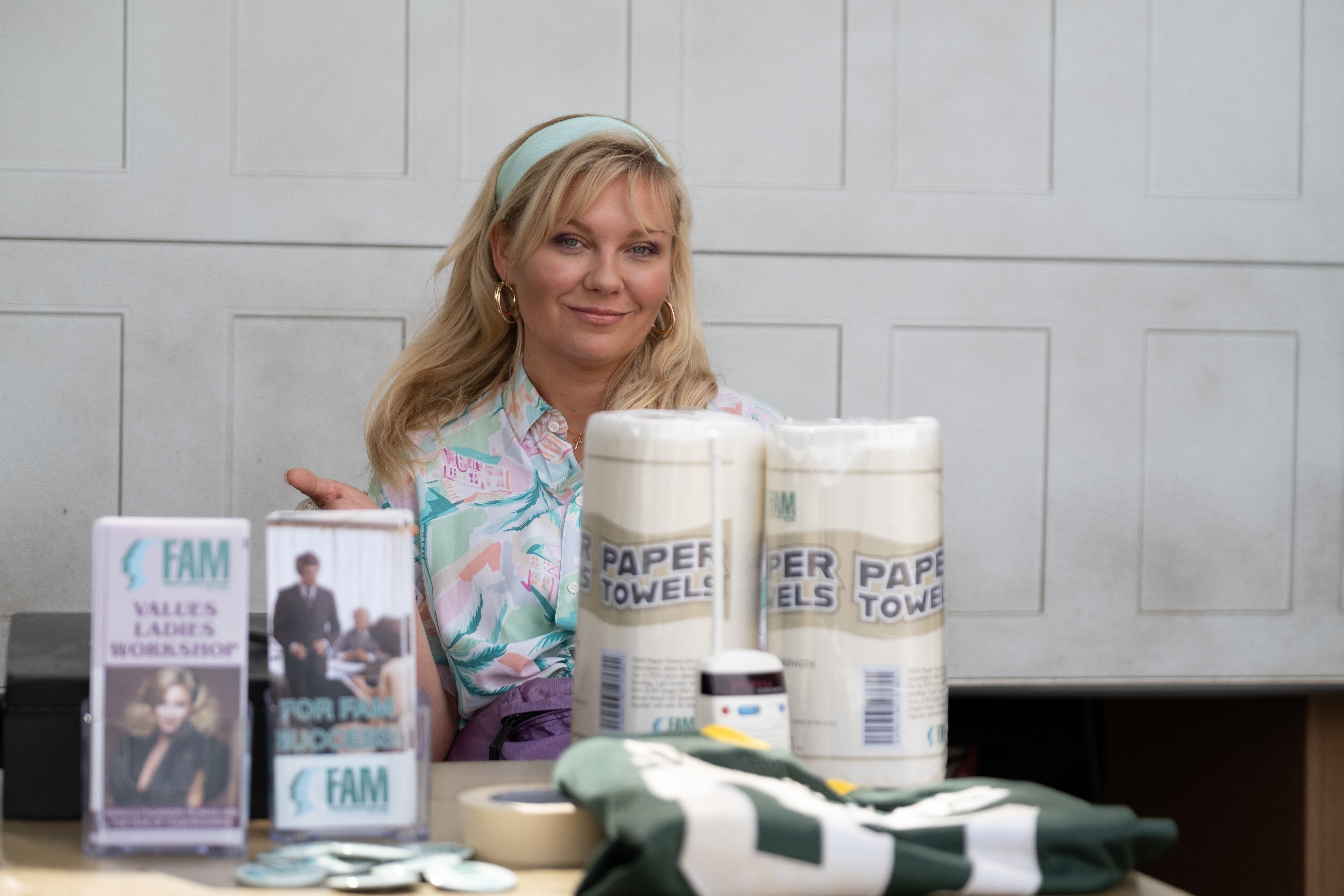 """Krystal Stubbs (Kirsten Dunst) hustles the products offered by Founders American Merchandise, a pyramid scheme, on the new Showtime series """"On Becoming a God in Central Florida."""""""