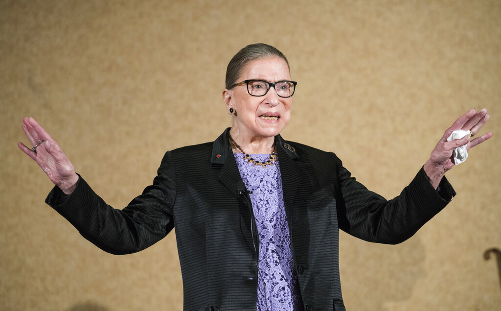 U.S. Supreme Court Justice, Ruth Bader Ginsburg, is introduced during the keynote address for the State Bar of New Mexico's Annual Meeting in Pojoaque
