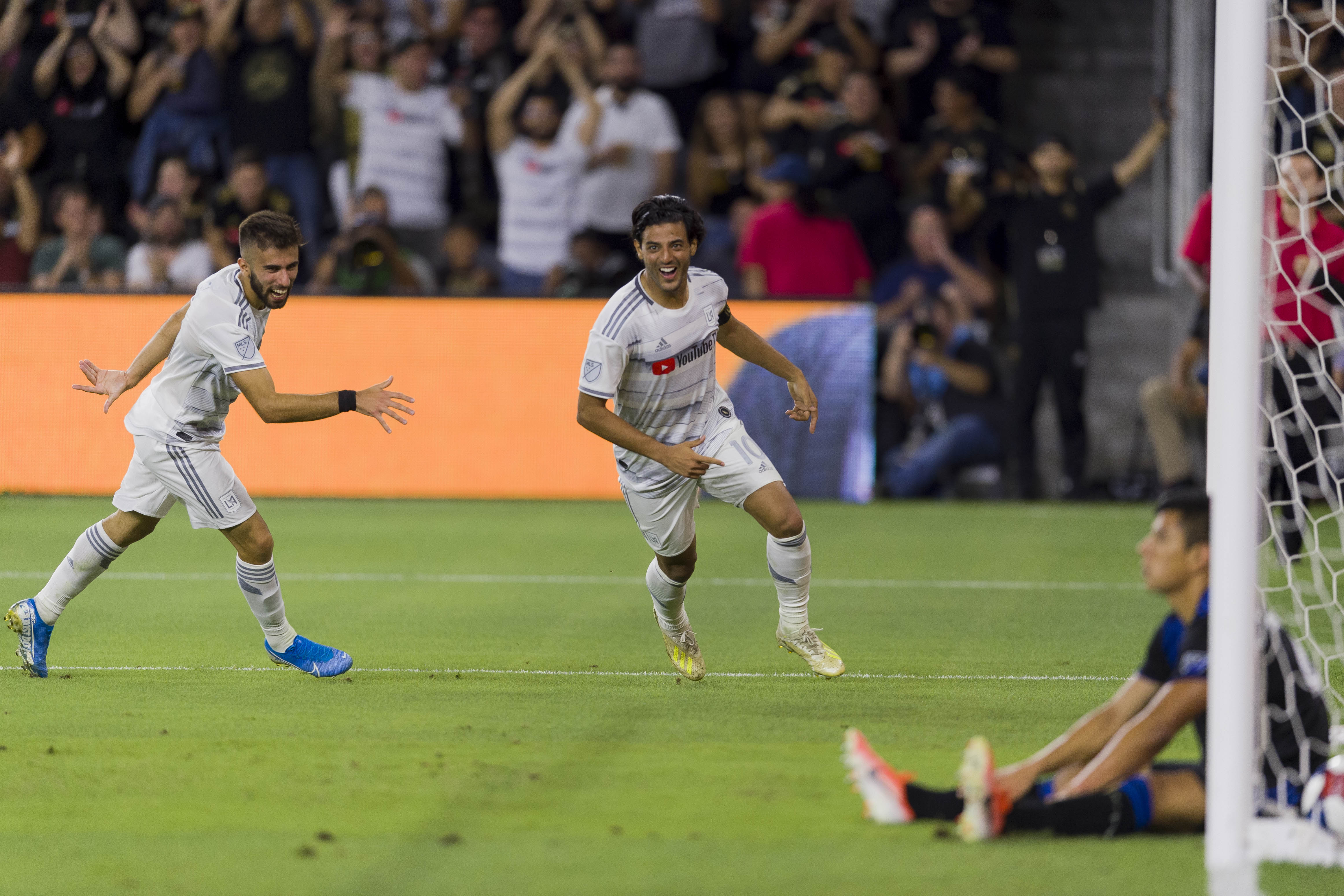 Carlos Vela celebrating after scoring a spectacular goal against the Earthquakes.