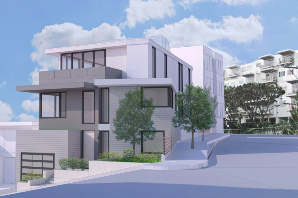 A rendering of a boxy white three-level contemporary home.