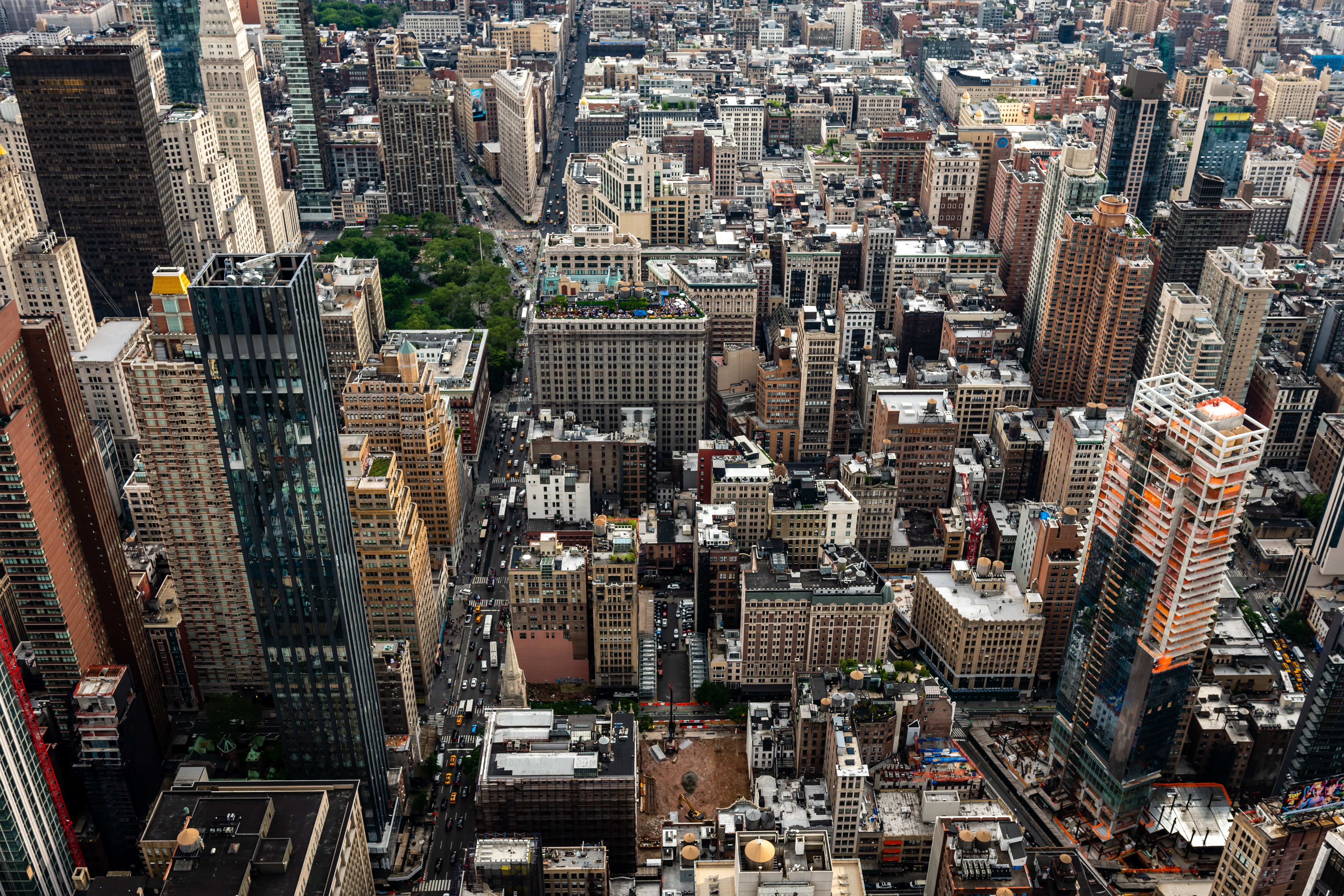 A view of NYC buildings from above.