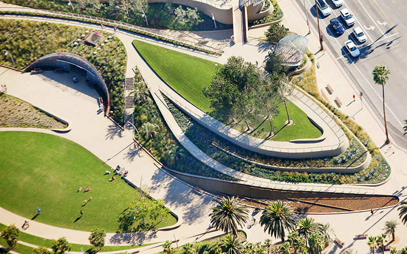 Aerial shot of public park with curving paths around patches of green.