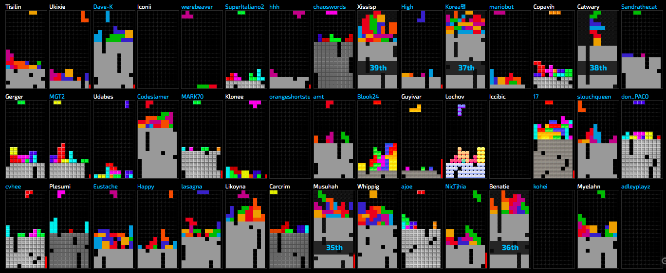 A screenshot of around 40 Tetris boards from Jstris