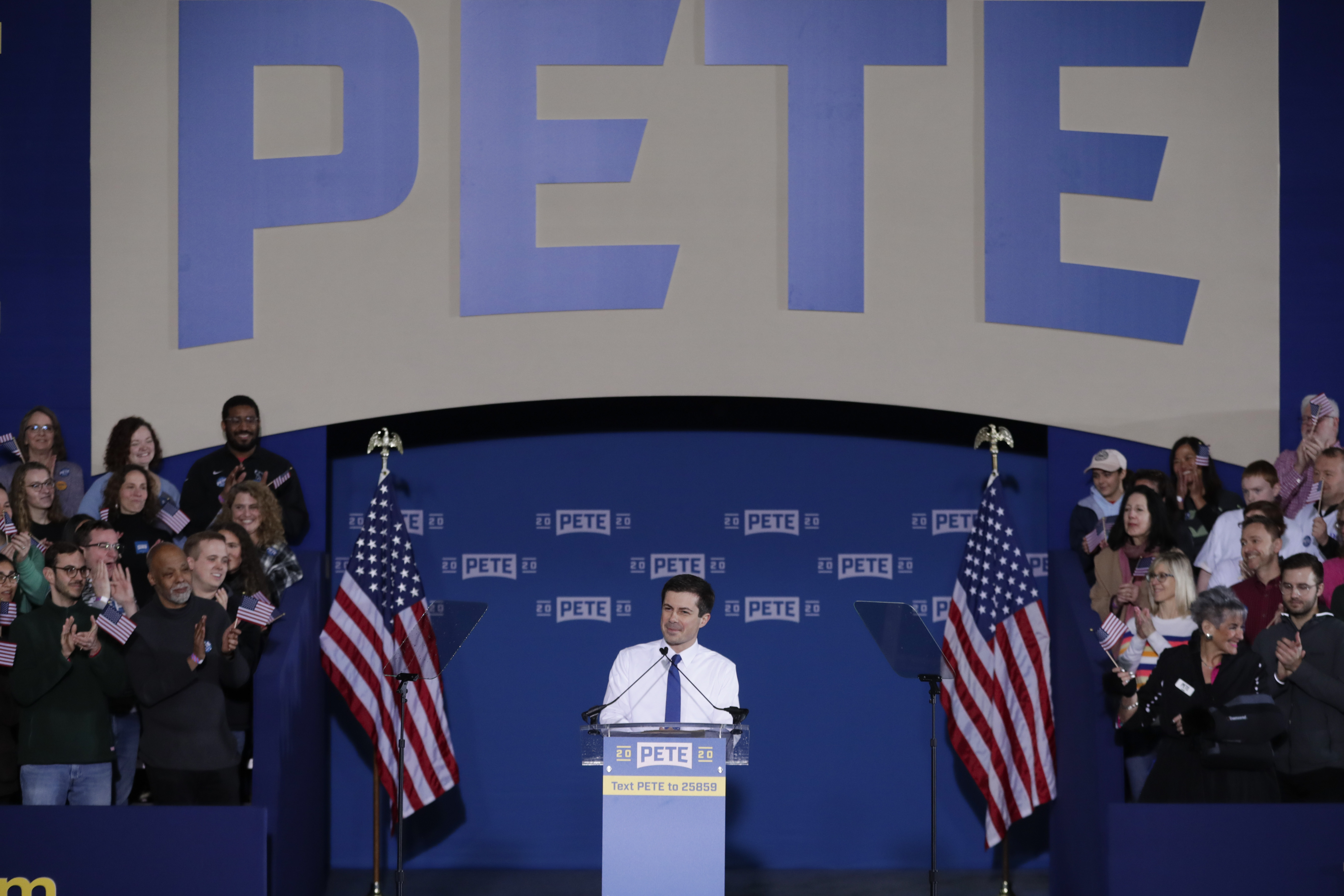 Pete Buttigieg announces that he will seek the Democratic presidential nomination during a rally in South Bend, Ind., Sunday, April 14, 2019. Buttigieg, 37, is serving his second term as the mayor of South Bend.