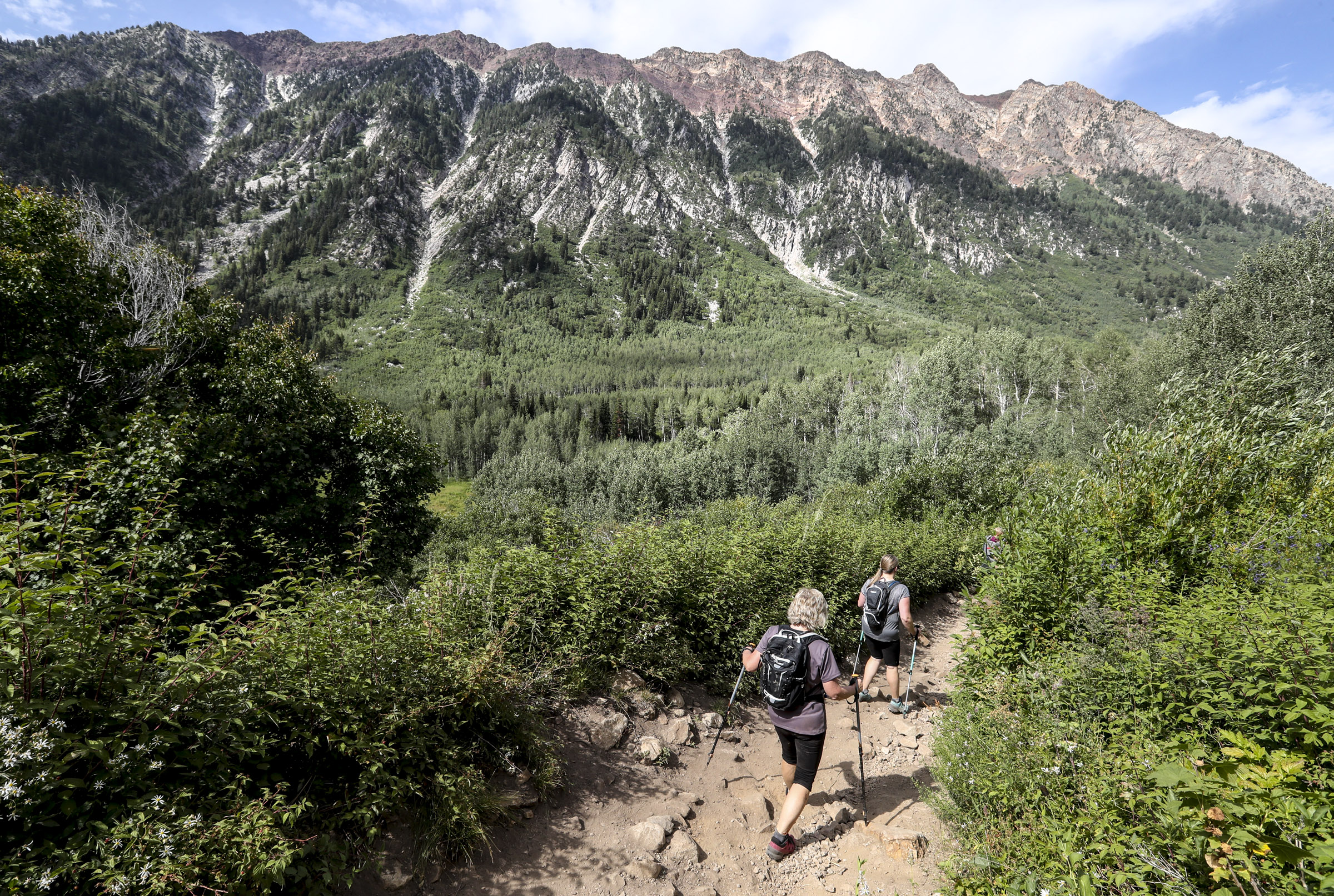 Hikers make their way down the White Pine Lake Trail in Little Cottonwood Canyon on Thursday, Aug. 22, 2019.