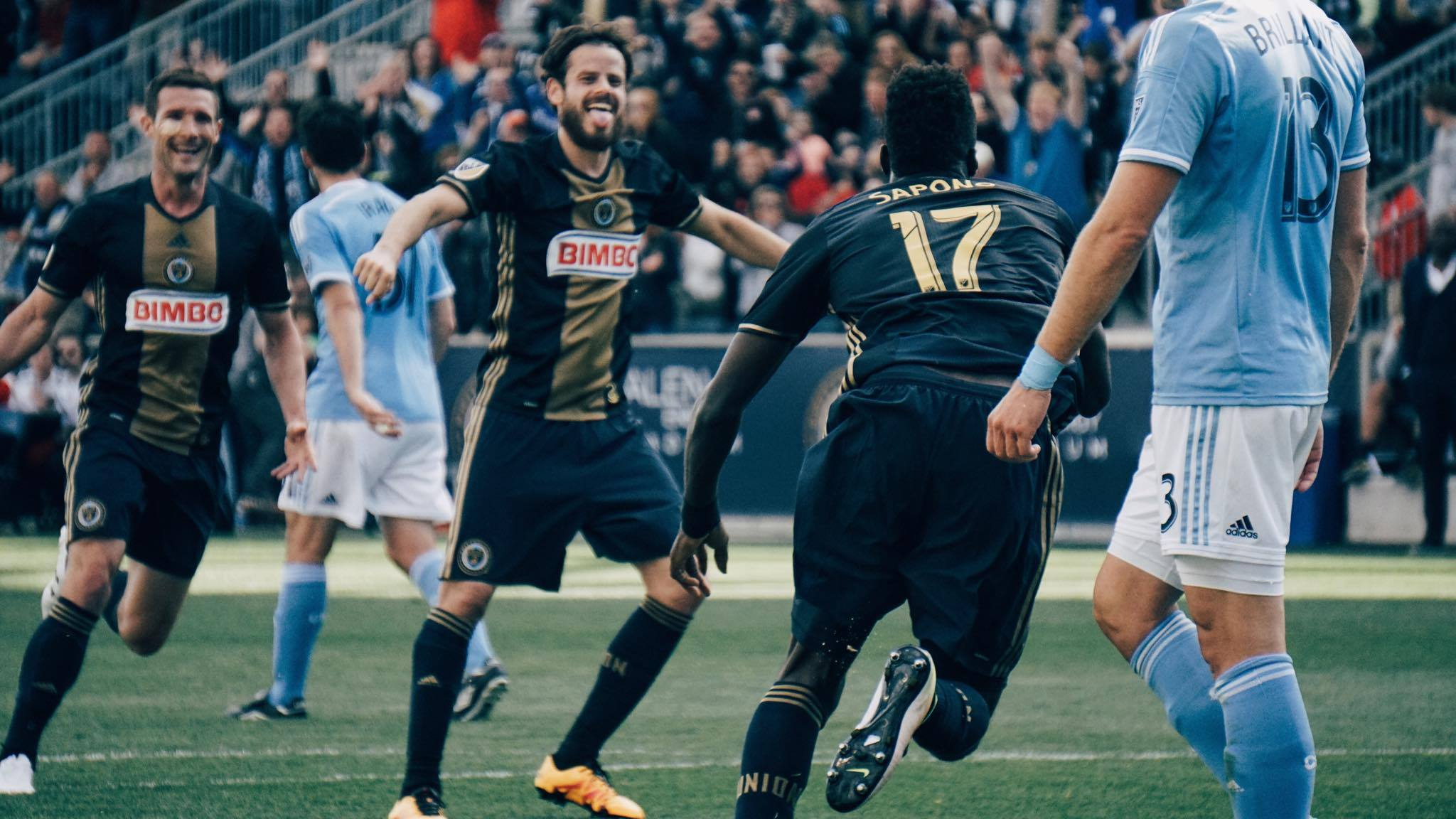 Tranquillo Barnetta celebrates CJ Sapong's goal as the Philadelphia Union defeated New York City FC 2-0.