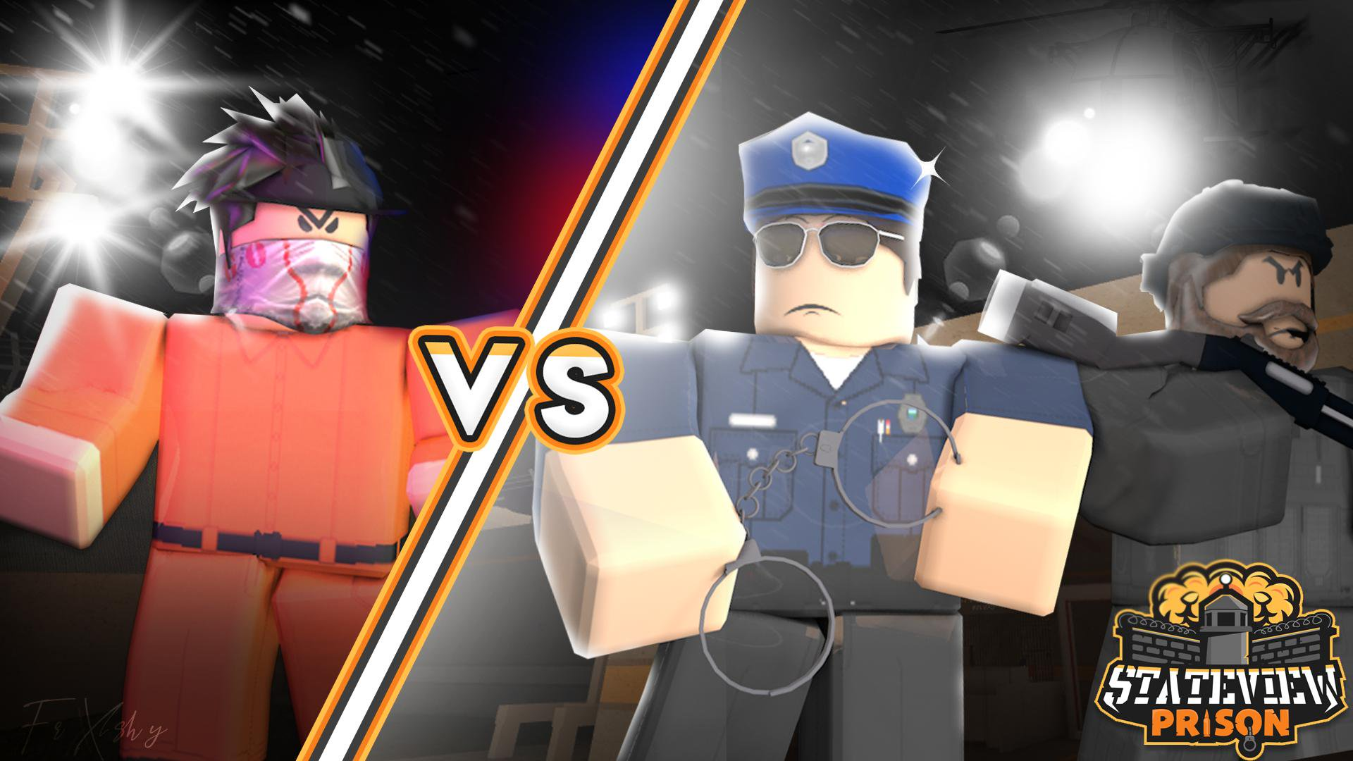 A screenshot of two, blocky characters. One is dressed as a prisoner, the other is dressed as a cop.