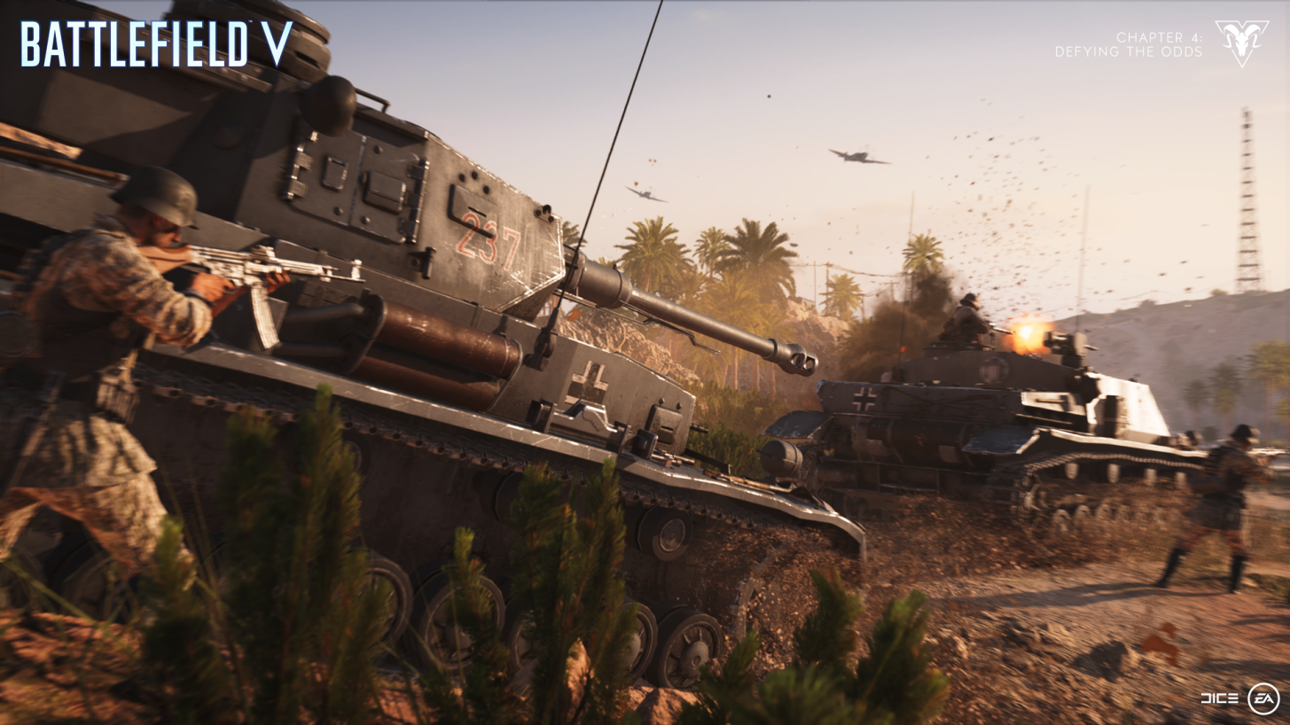 A German World War II soldier with rifle raised runs alongside a tank in Battlefield 5's Al Sundan map.