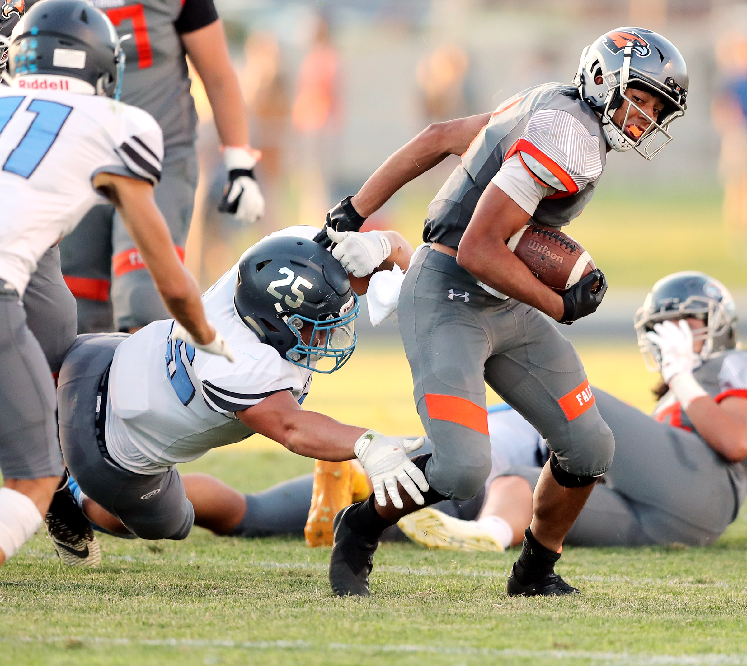 Action in the Skyridge and Sky View high school football game in Lehi on Friday, Aug. 23, 2019. Skyridge won 18-10.