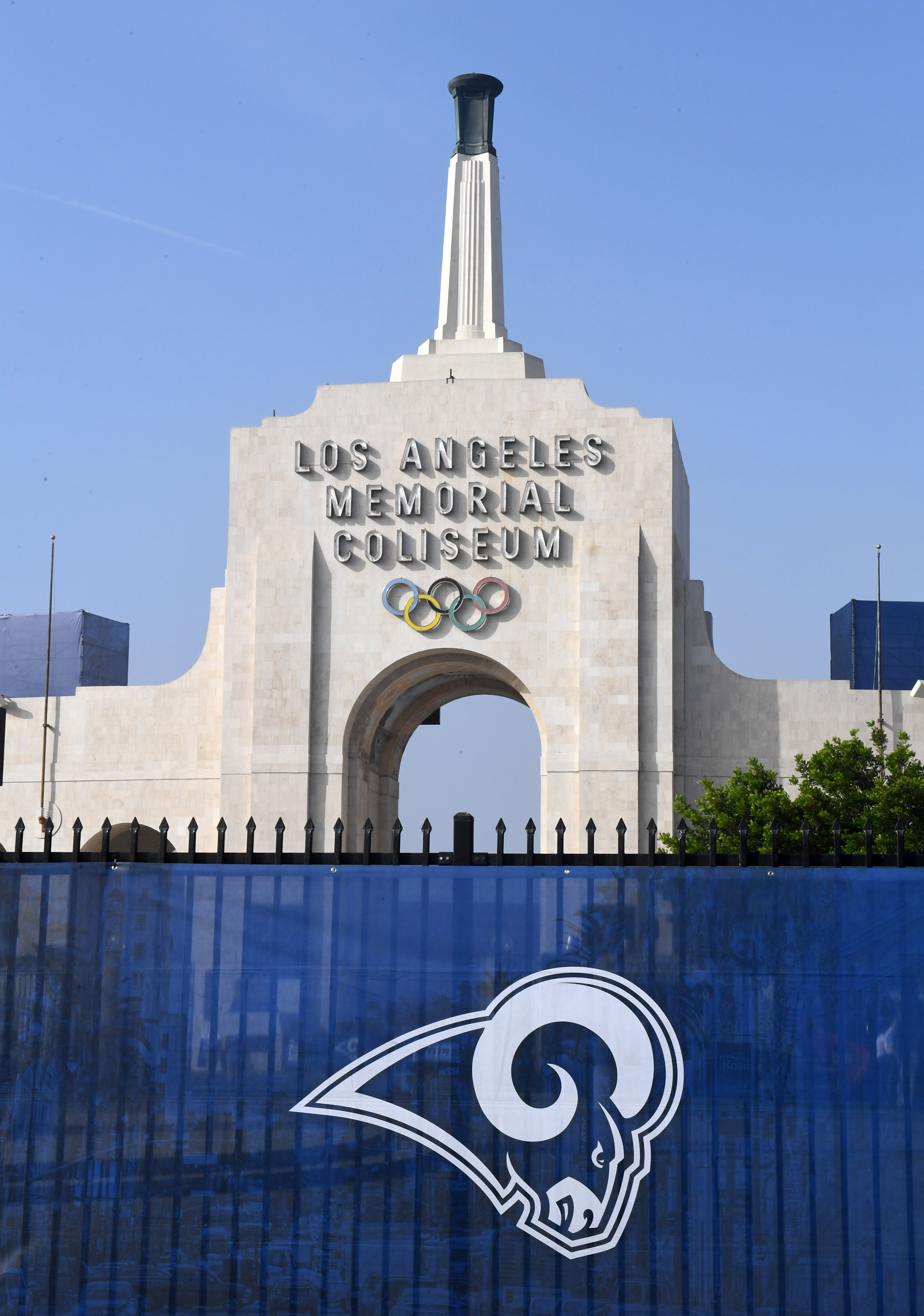 The Los Angeles Memorial Coliseum peristyle and Olympic torch during the Week 12 game between the New Orleans Saints and the Los Angeles Rams, Nov. 26, 2017.