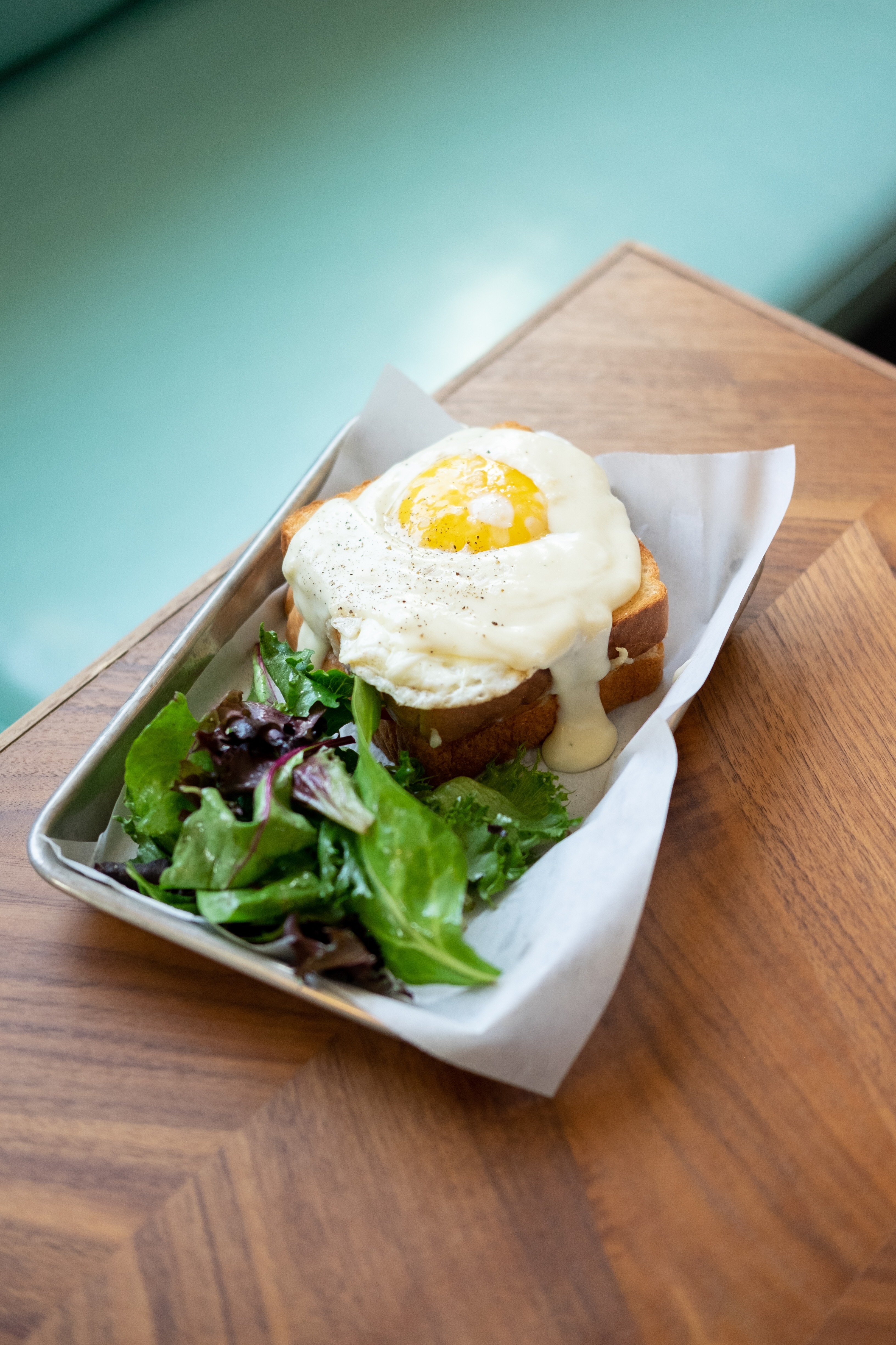 The croque-madame at the Bistro at Lark & Owl Booksellers