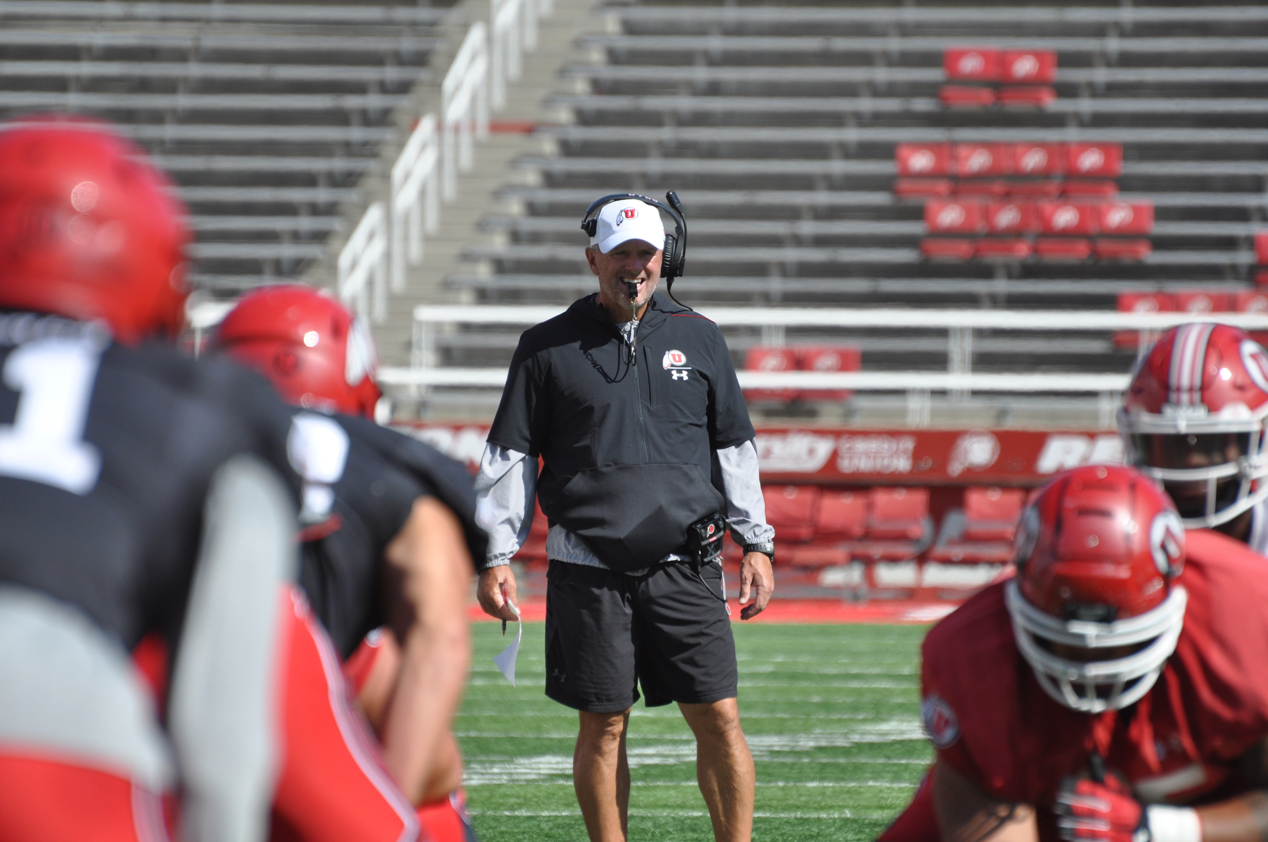 Utah head coach Kyle Whittingham looks on during the Utes' scrimmage at Rice-Eccles Stadium on Saturday, Aug. 17, 2019.