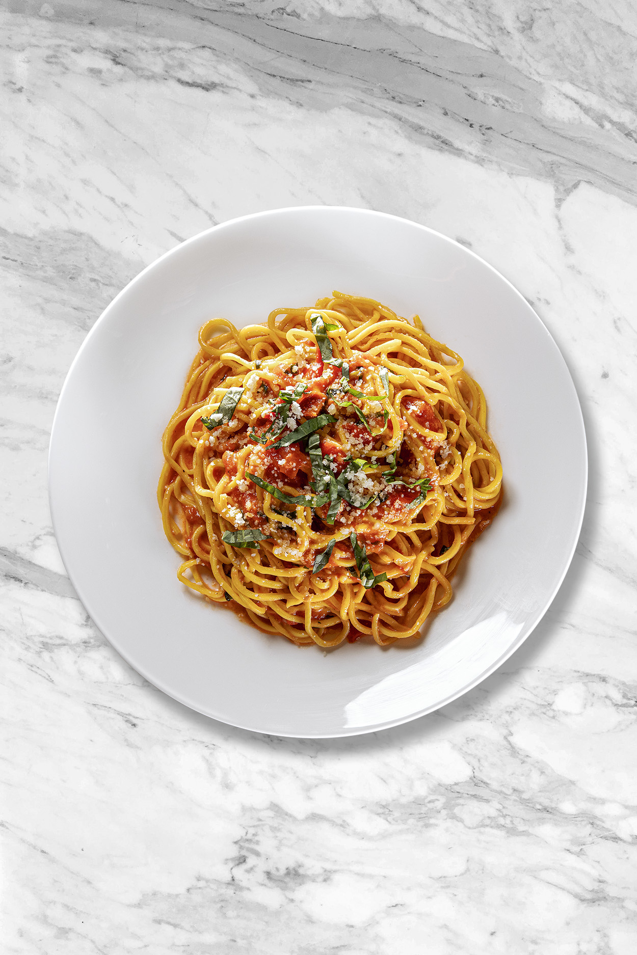 A plate of spaghetti with tomato sauce