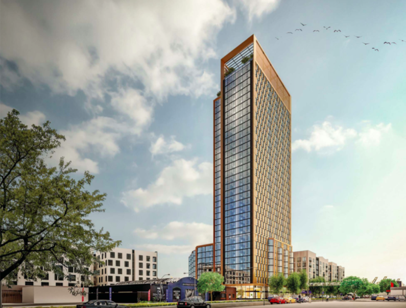 A rendering of a slender, glass-paned housing tower.
