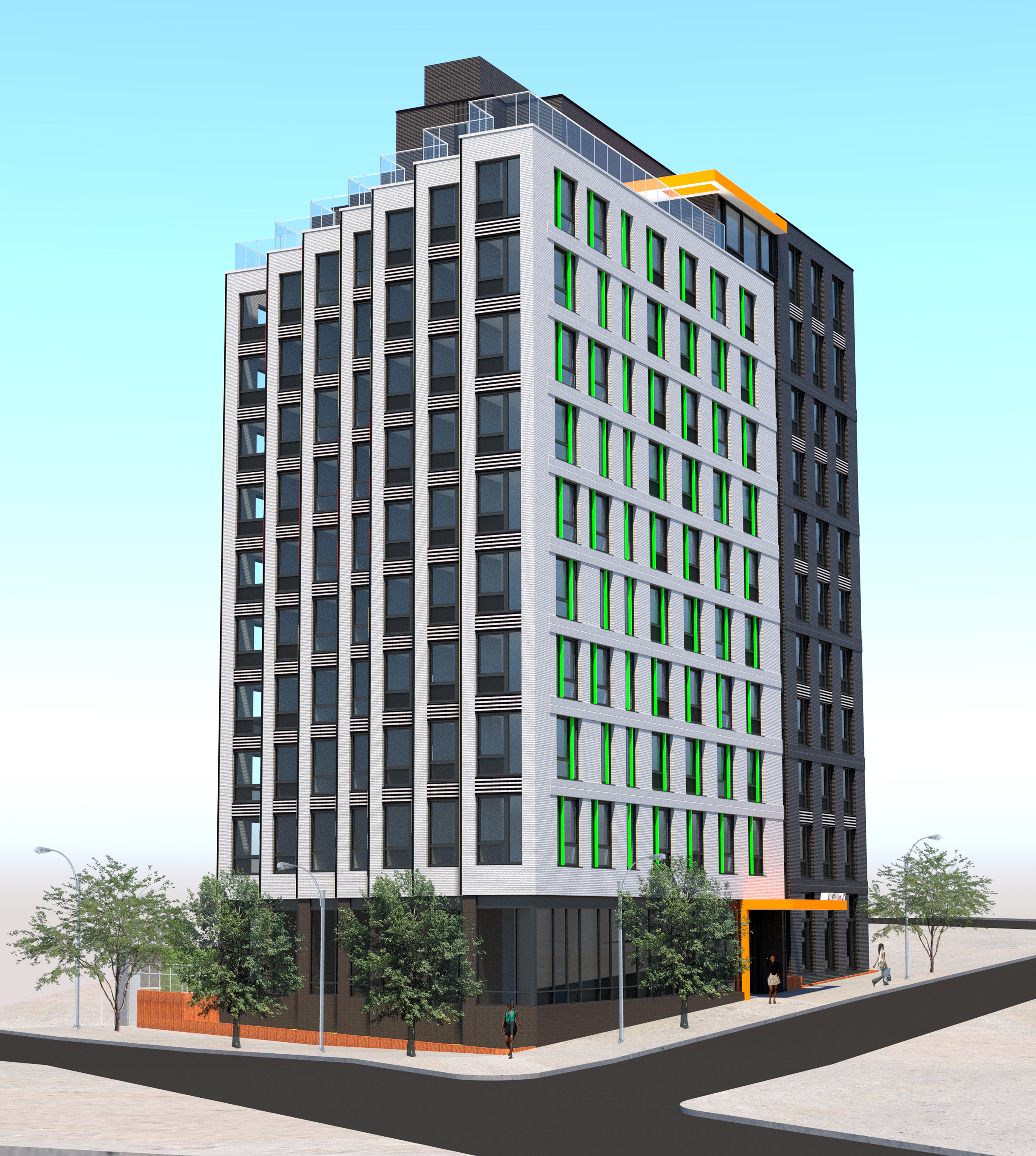 A rendering of the 11-story building that will contain 80 affordable apartments.