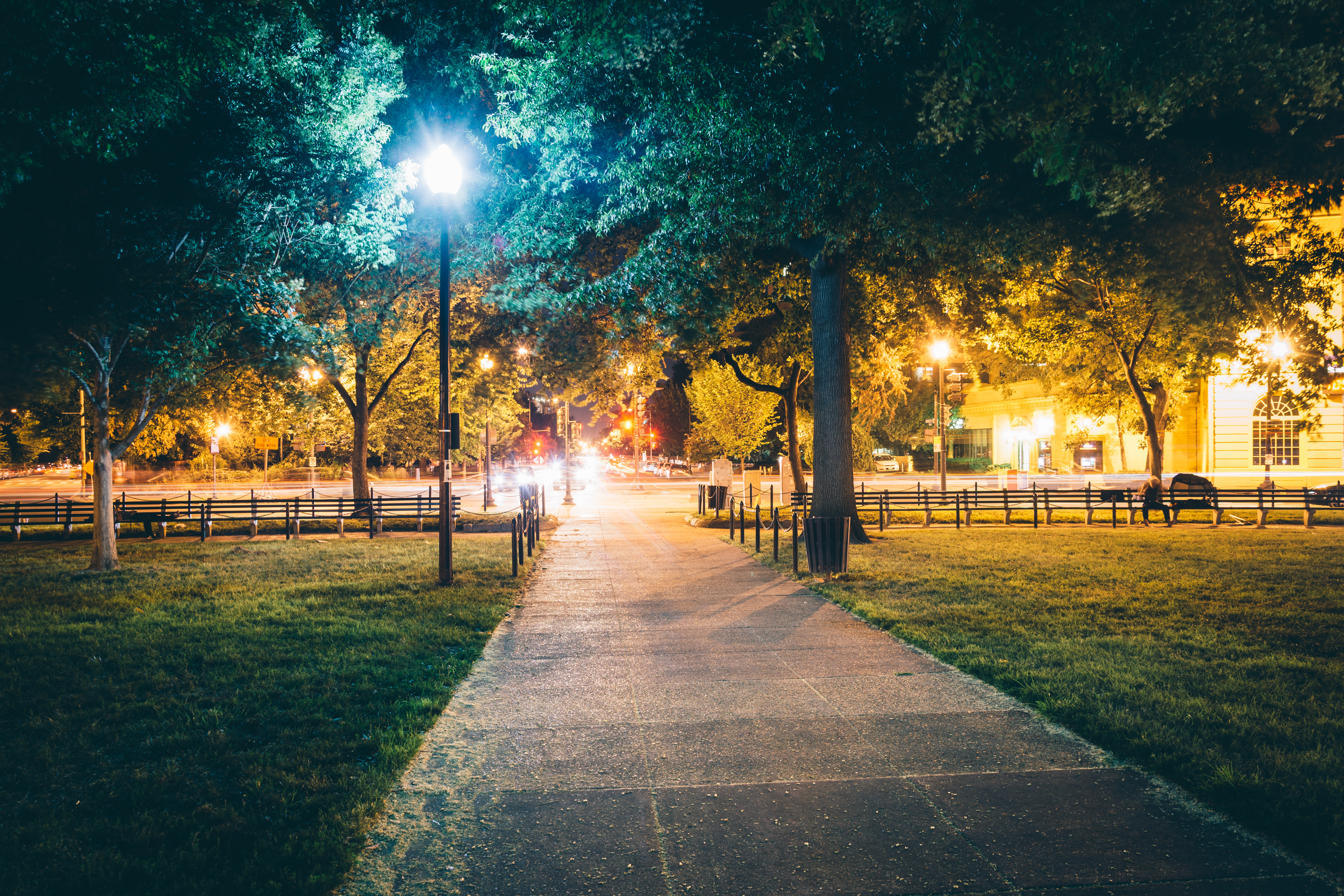A city circle at night, with a bright streetlight and trees.