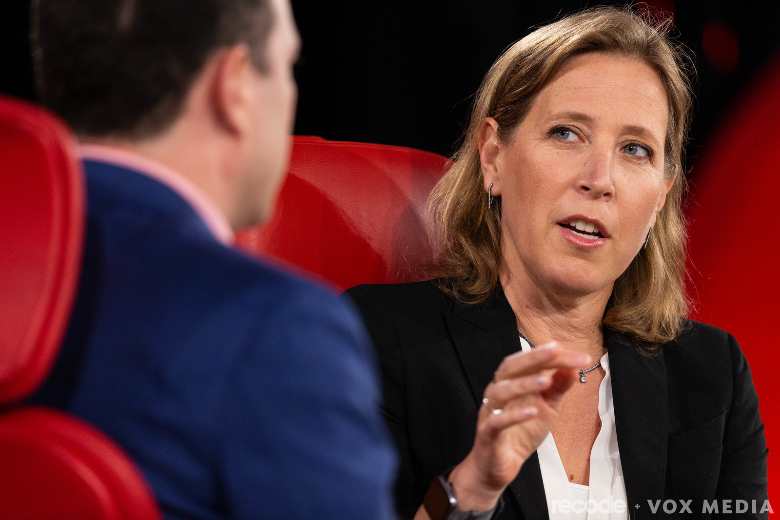 YouTube CEO Susan Wojcicki talks to Recode's Peter Kafka onstage at Code Conference in June 2019.