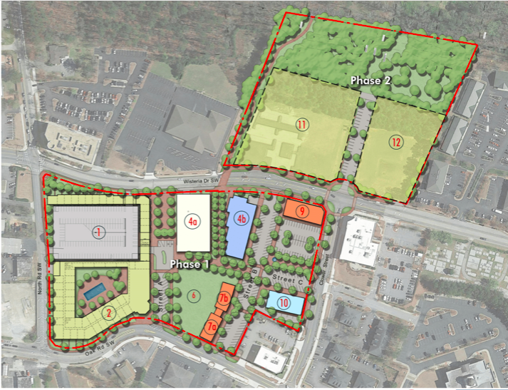 A rendering of a two-phase development project show with green space, buildings, and trees.