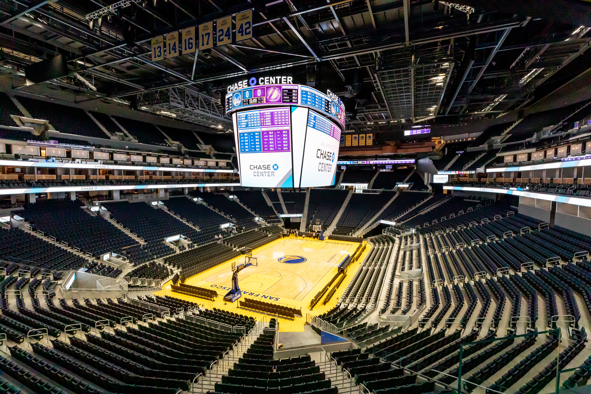 Large arena shot from up high showing empty seating, empty court, and a bright and sharp scoreboard.