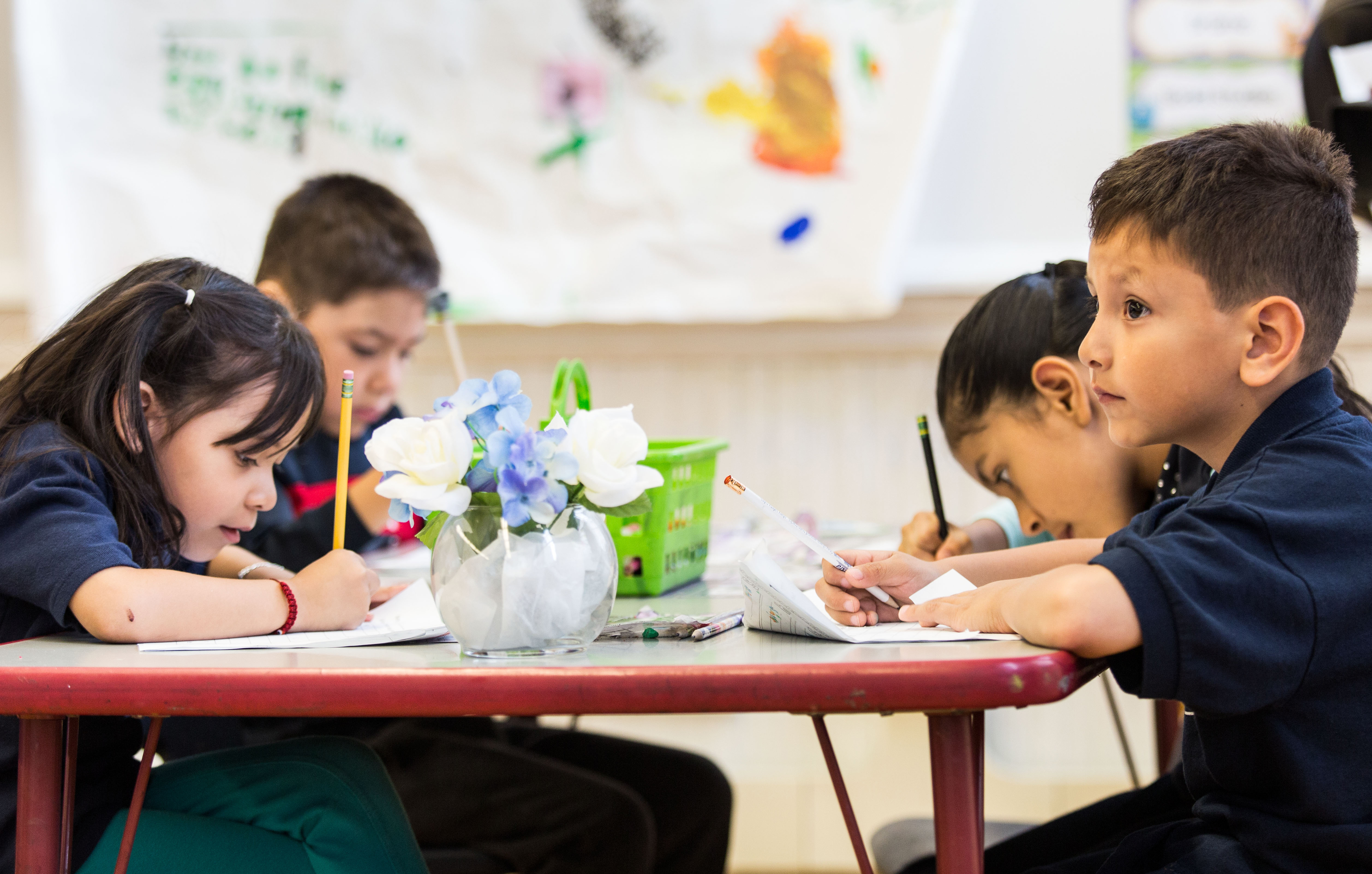 Students work inside their classroom at Brentano Math and Science Academy.   Lou Foglia/Sun-Times