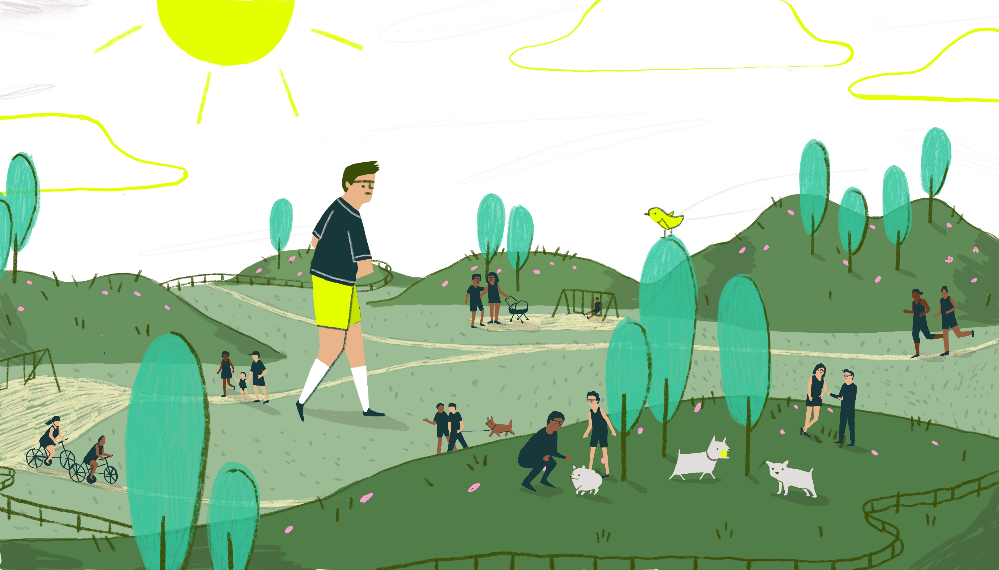 A boy in yellow shorts explores a park scene. There are trees, hills small fences, and pathways surrounding him. He is walking alone, separate from the groups of kids and animals playing around him. Illustration.
