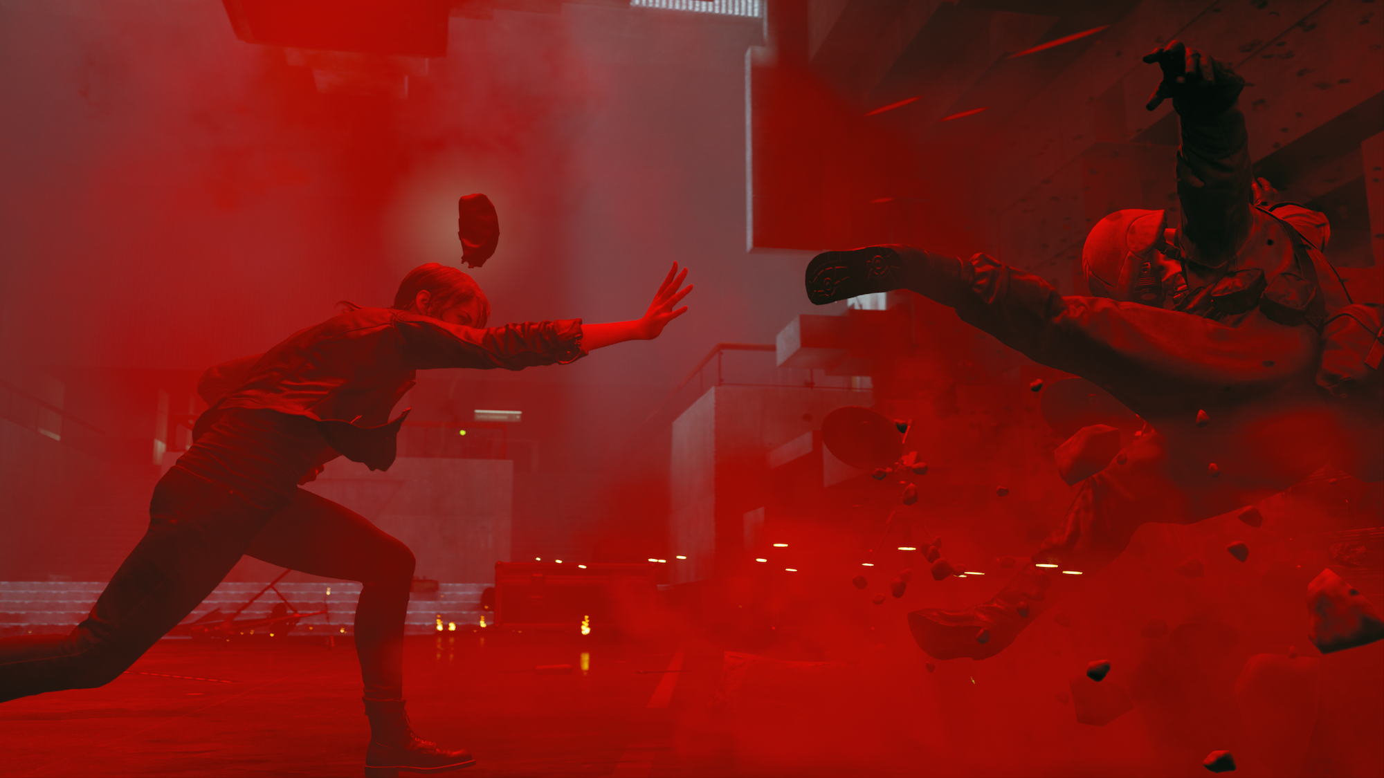 A woman in a red room slams an enemy soldier with psychic energy