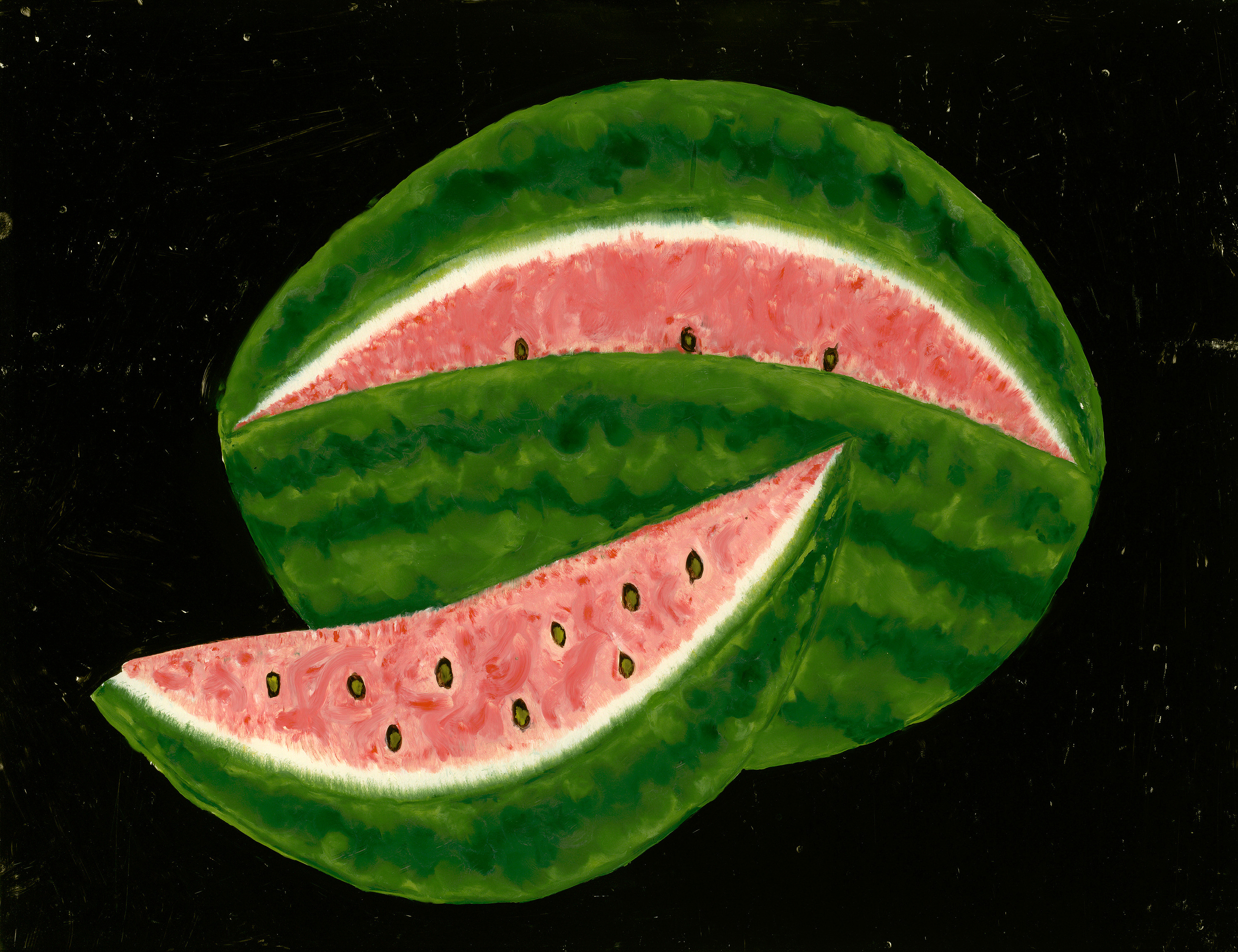 Watermelon, mid 19th-century painting on glass.