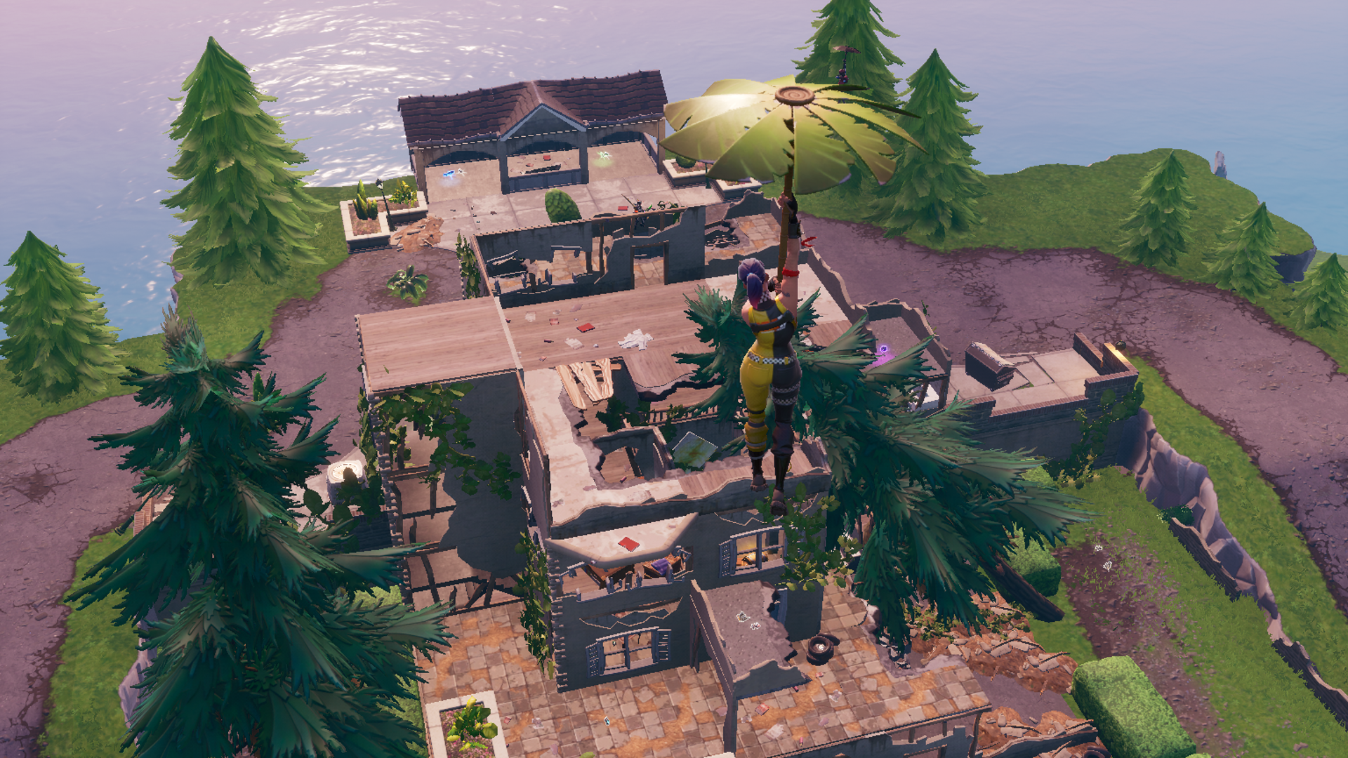 A Fortnite player landing at the Hero Mansion