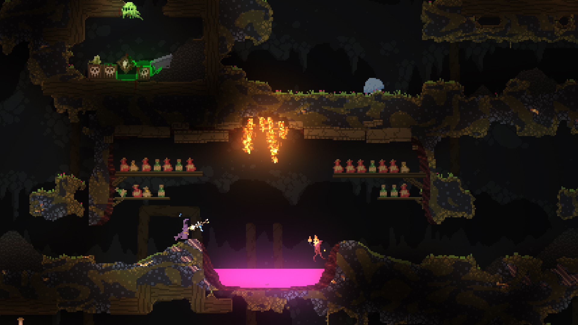 Screenshot from Noita showing some of the fire effects in the game