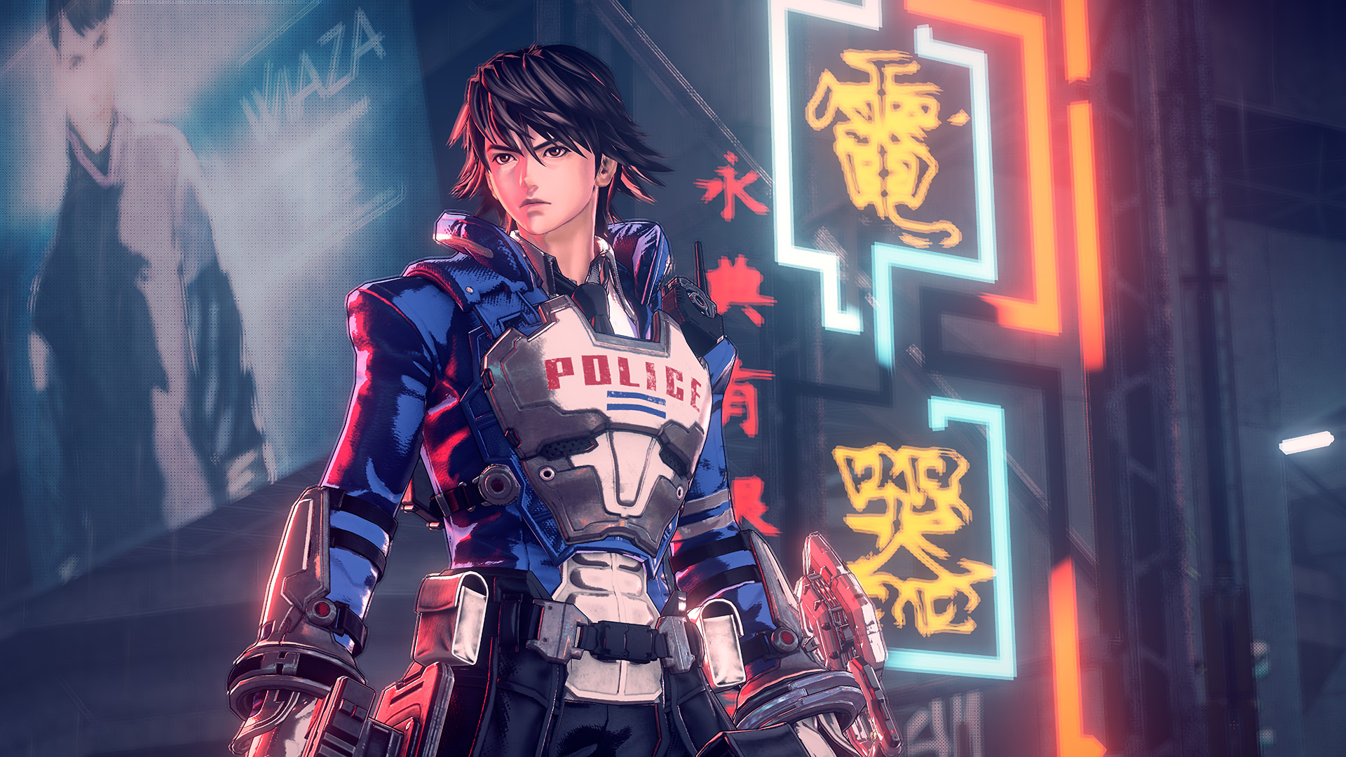 a police officer with Japanese characters on neon signs behind him