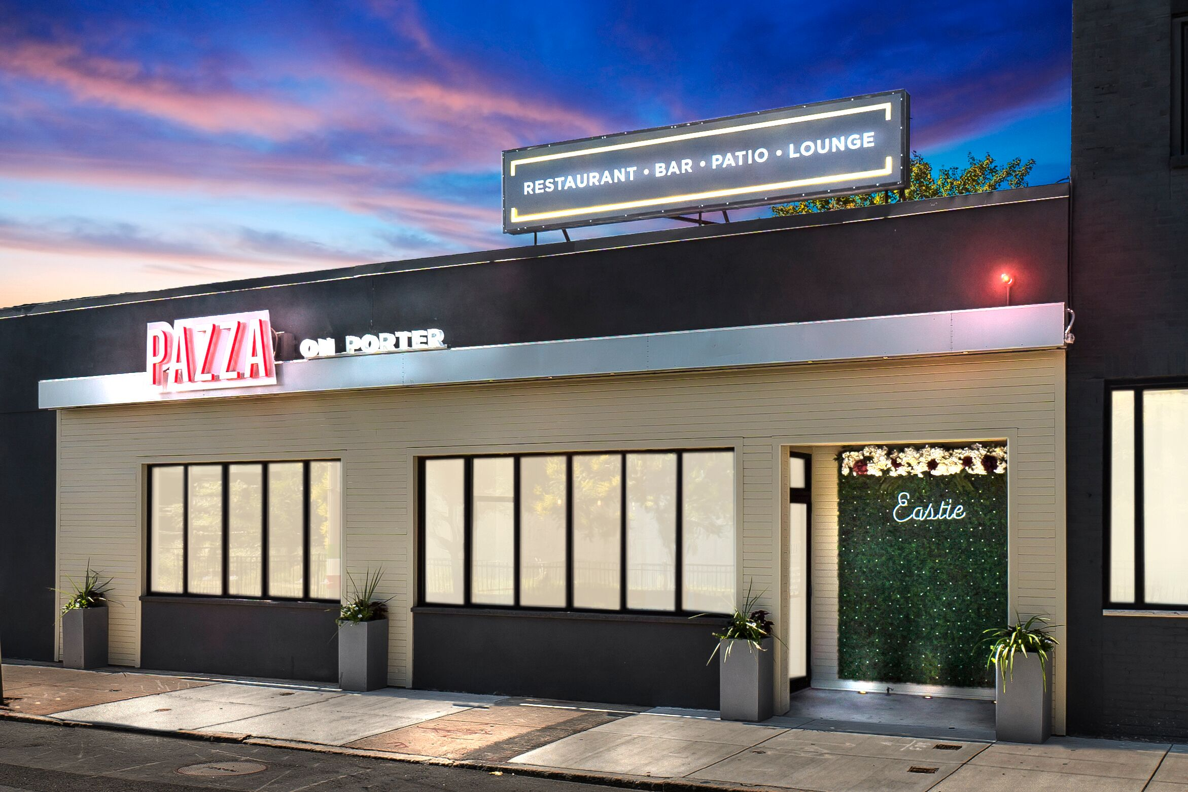 The exterior of Pazza On Porter in East Boston, which is right down the street from beloved pizzeria Santarpio's.