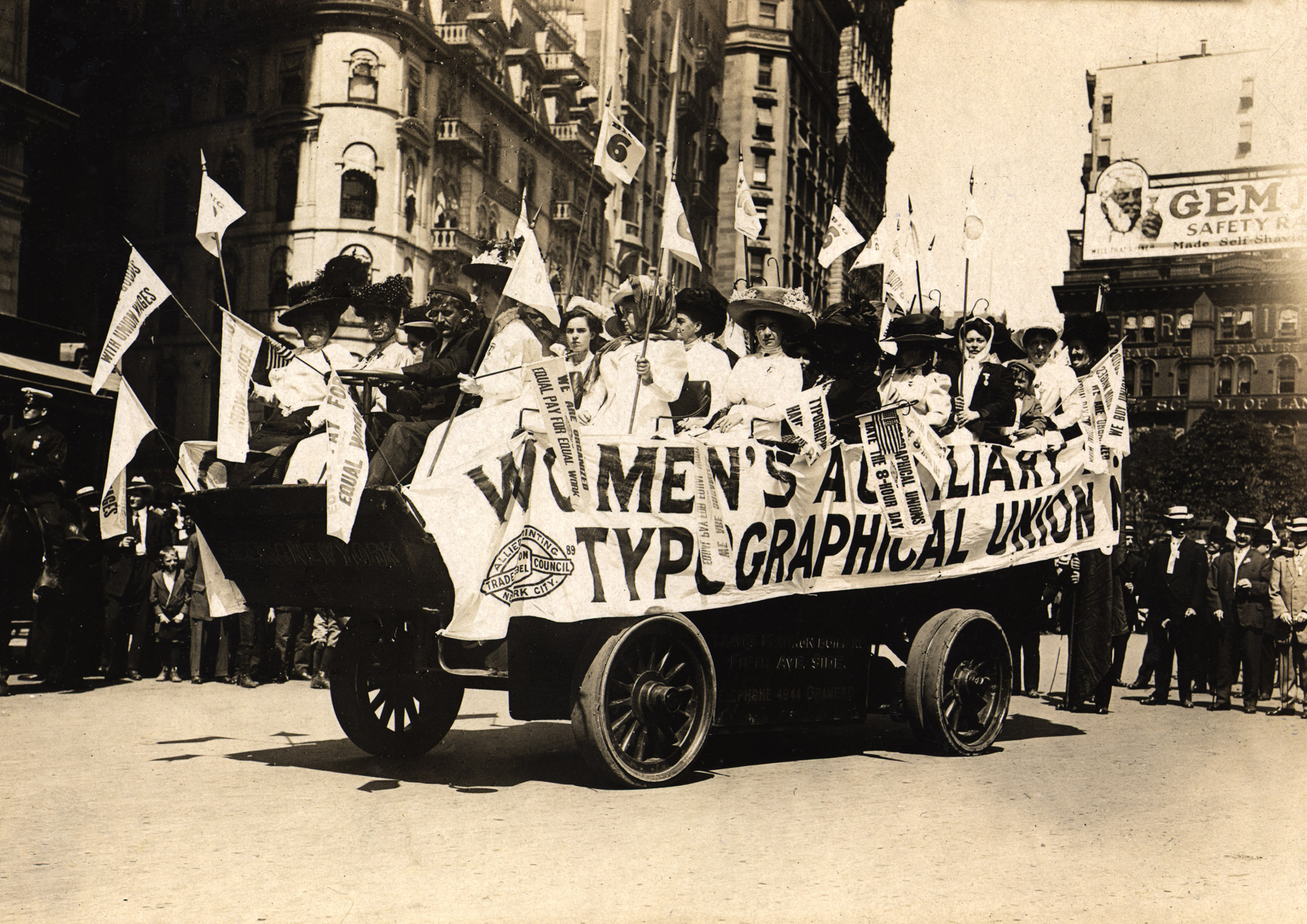 Historical black and white photo of Women's Auxiliary Typographical Union on parade float