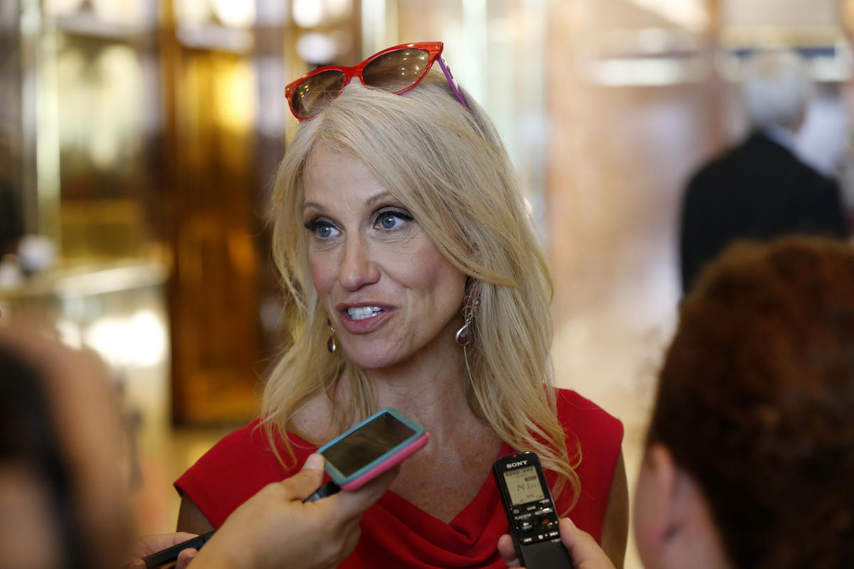 Kellyanne Conway, campaign manager for Republican presidential candidate Donald Trump, speaks to reporters in the lobby of Trump Tower in New York, Wednesday, Aug. 17, 2016.