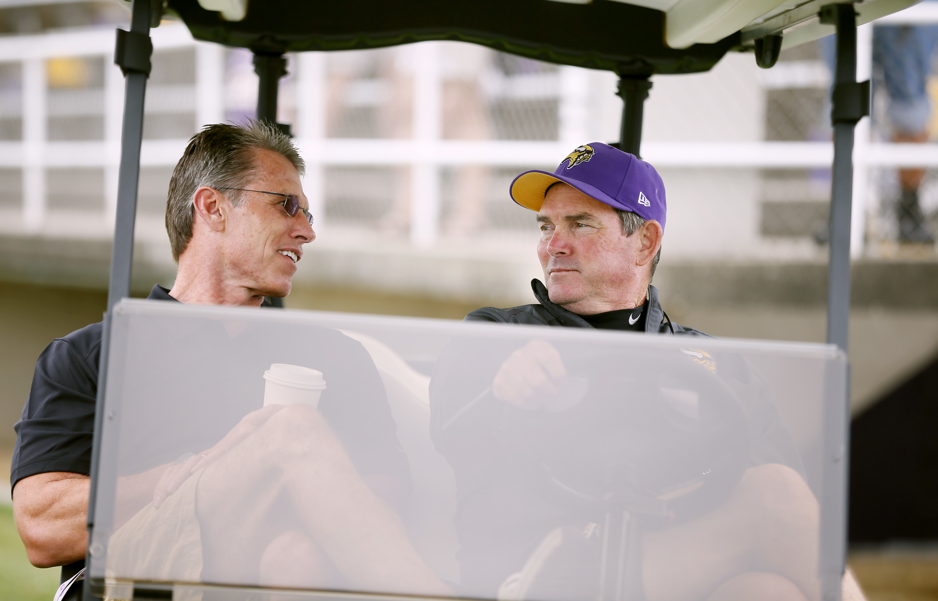 Vikings GM Rick Spielman left talked with head coach Mike Zimmer during NFL camp at Minnesota State University , Mankato Monday July 28, 2014 in Mankato, MN . ] Jerry Holt Jerry.holt@startribune.com