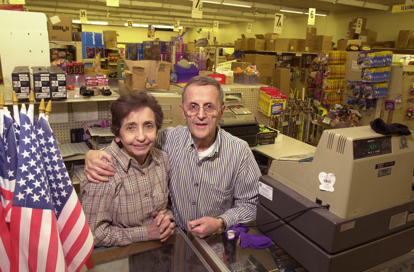 Marvin and Renee Hecht inside their Cut Rate Toys store on Devon Avenue in Edgebrook in 2001.