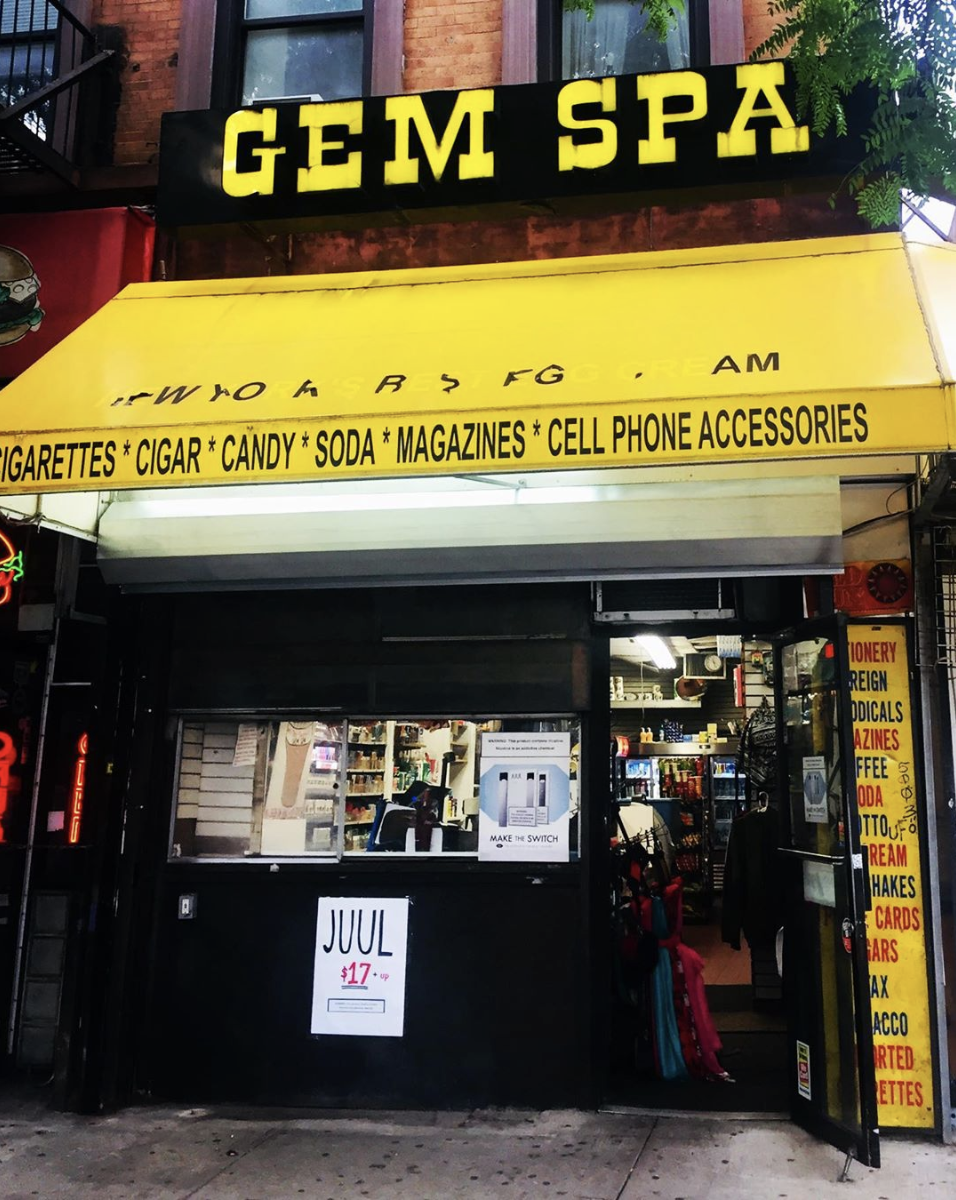A photo of the Gem Spa yellow sign