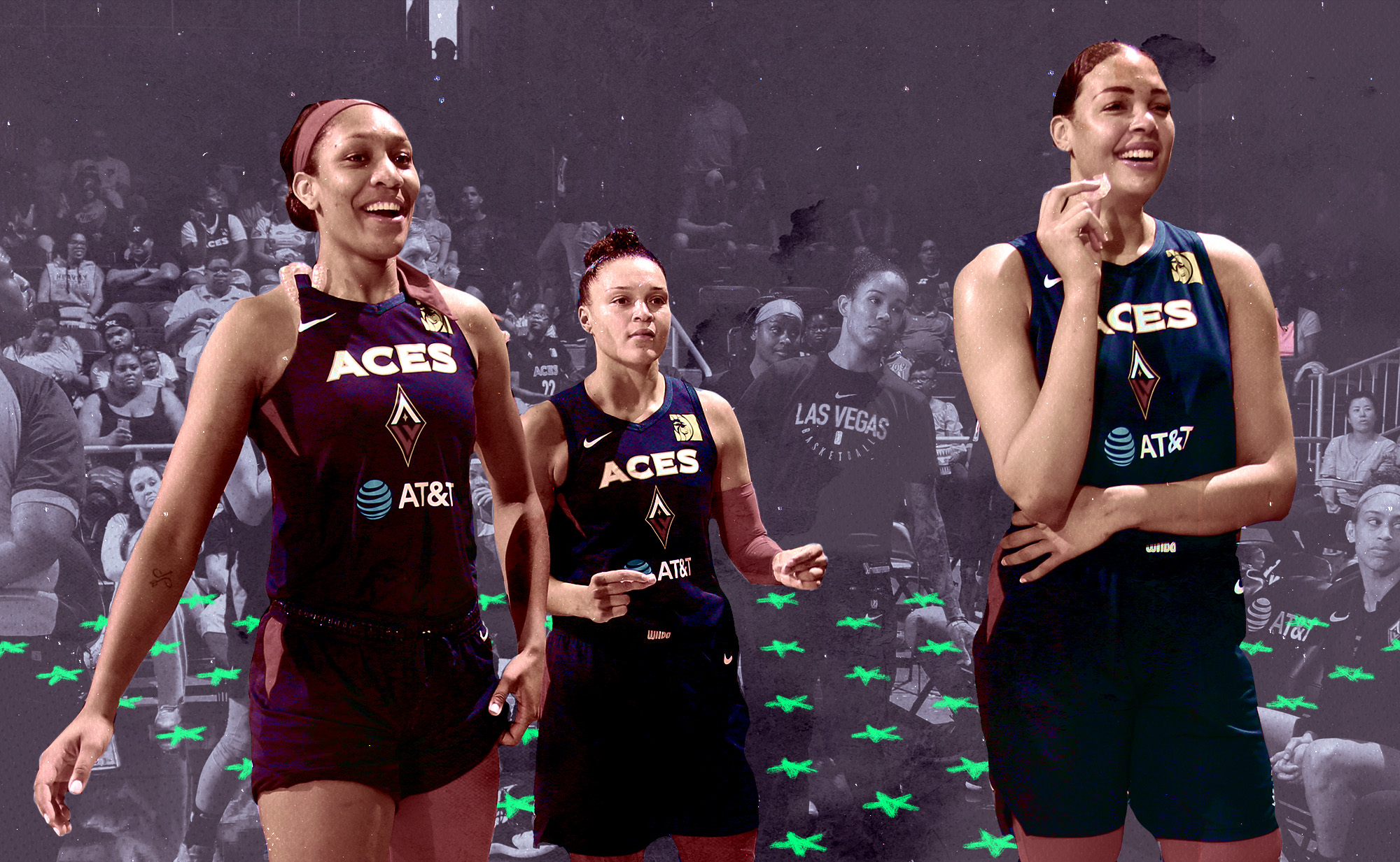 A'ja Wilson, Kayla McBride, and Liz Cambage of the Las Vegas Aces stand at the corner of the court.
