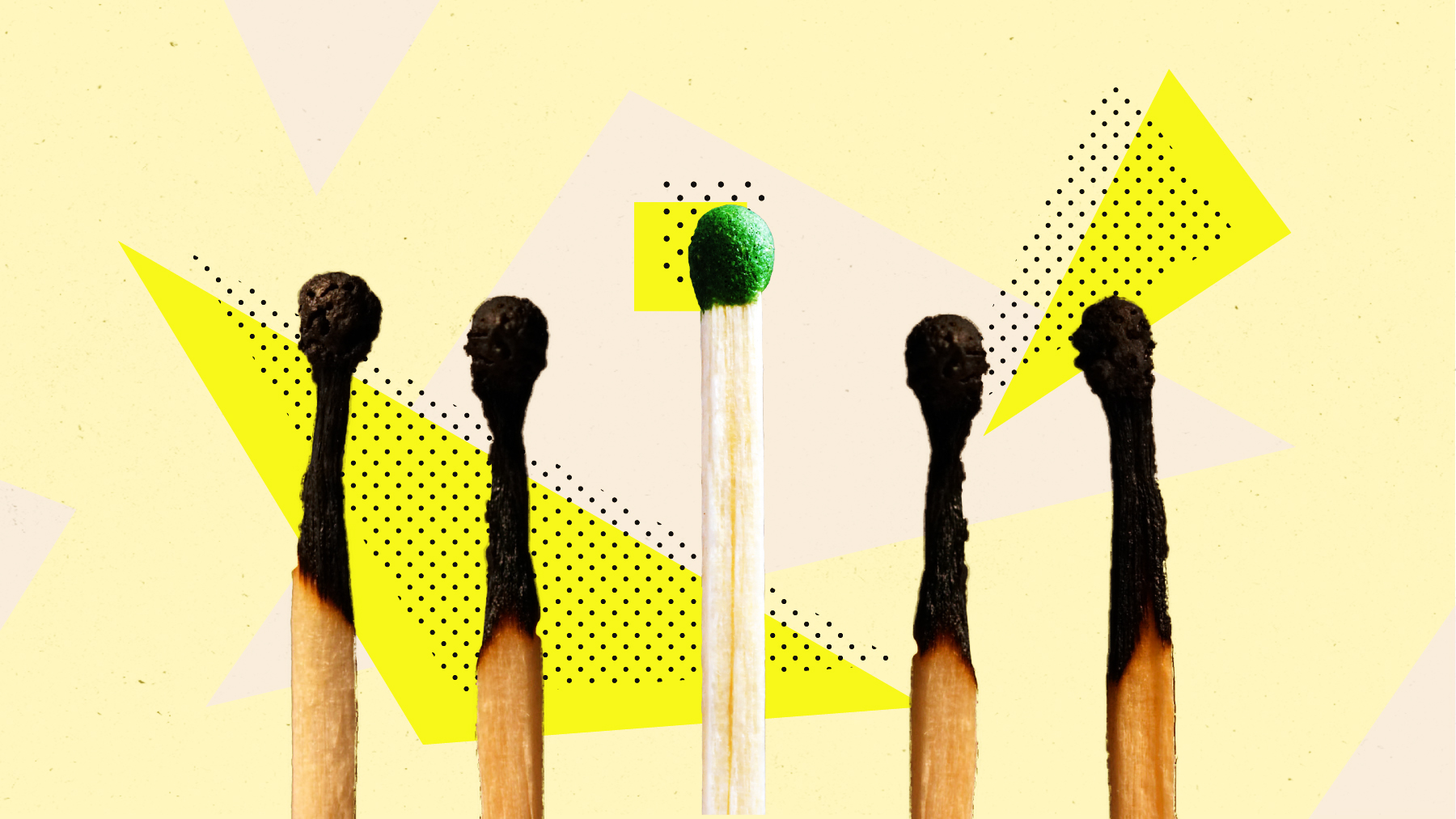 Photoillustration of four burnt matches and one unlit one.
